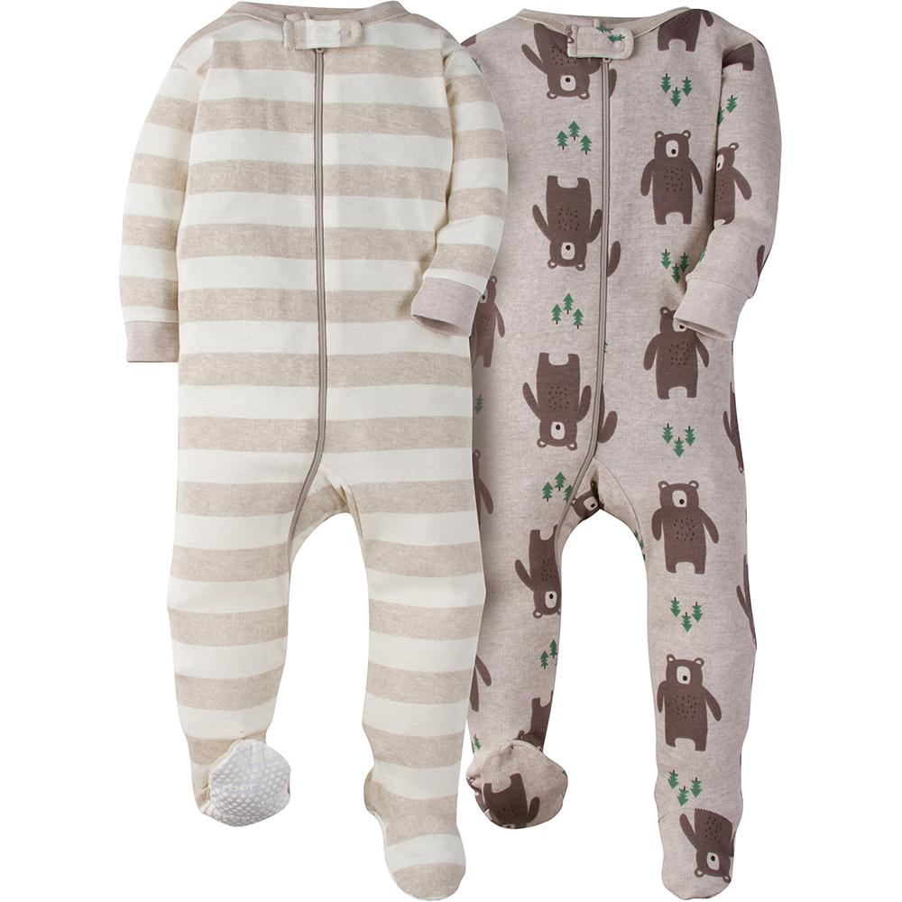 2-Pack Boy Brown Bear Snug Fit Footed Pajamas
