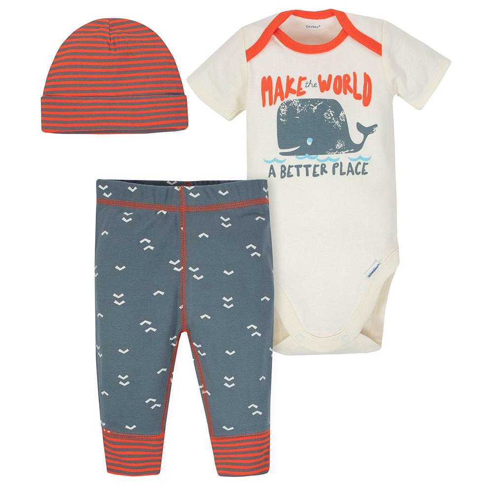 da7e96b29fd 3-piece Boys Whale Bodysuit   Pants Set