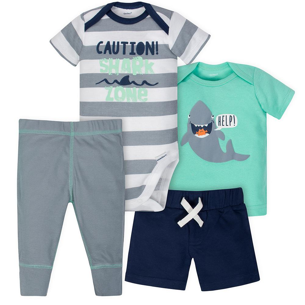 cf838c9e323 4-Piece Boys Shark Onesies® Bodysuit