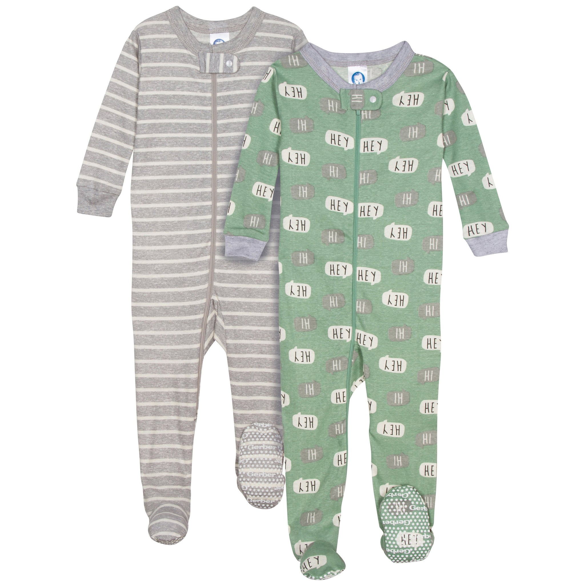2-pack Boys Organic Footed Unionsuit - Hey/Stripes