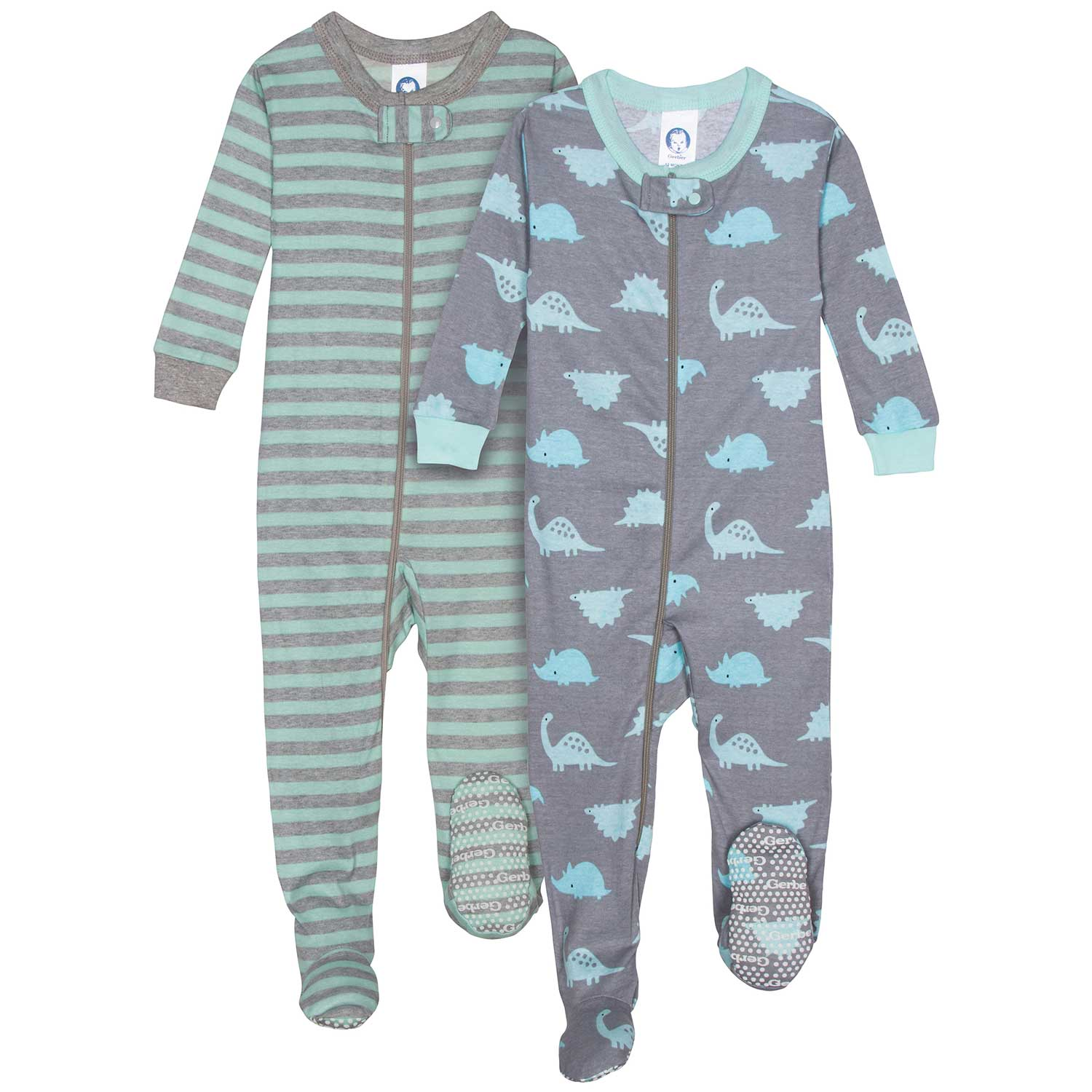 2-Pack Boys Organic Footed Unionsuit