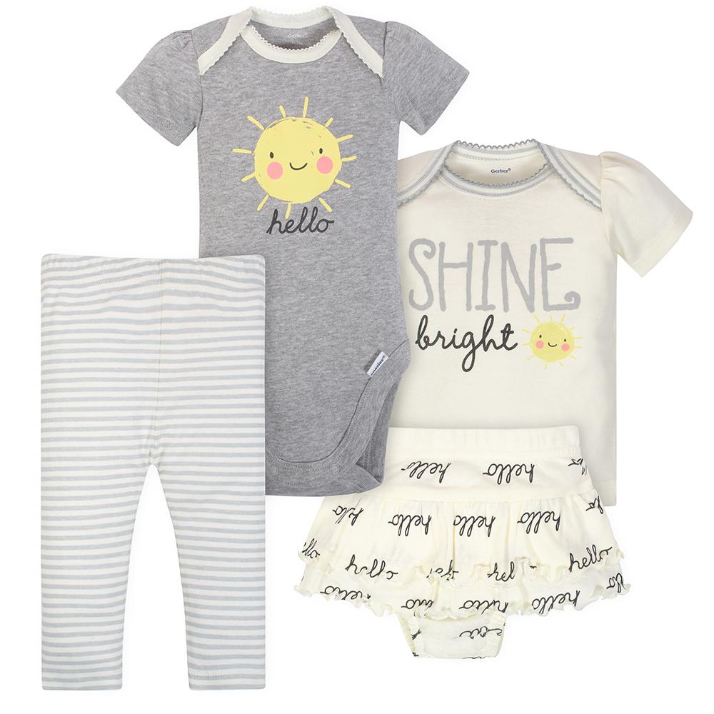 4-Piece Girls Sunshine Onesies® Bodysuit, Shirt, Pants, and Short Set