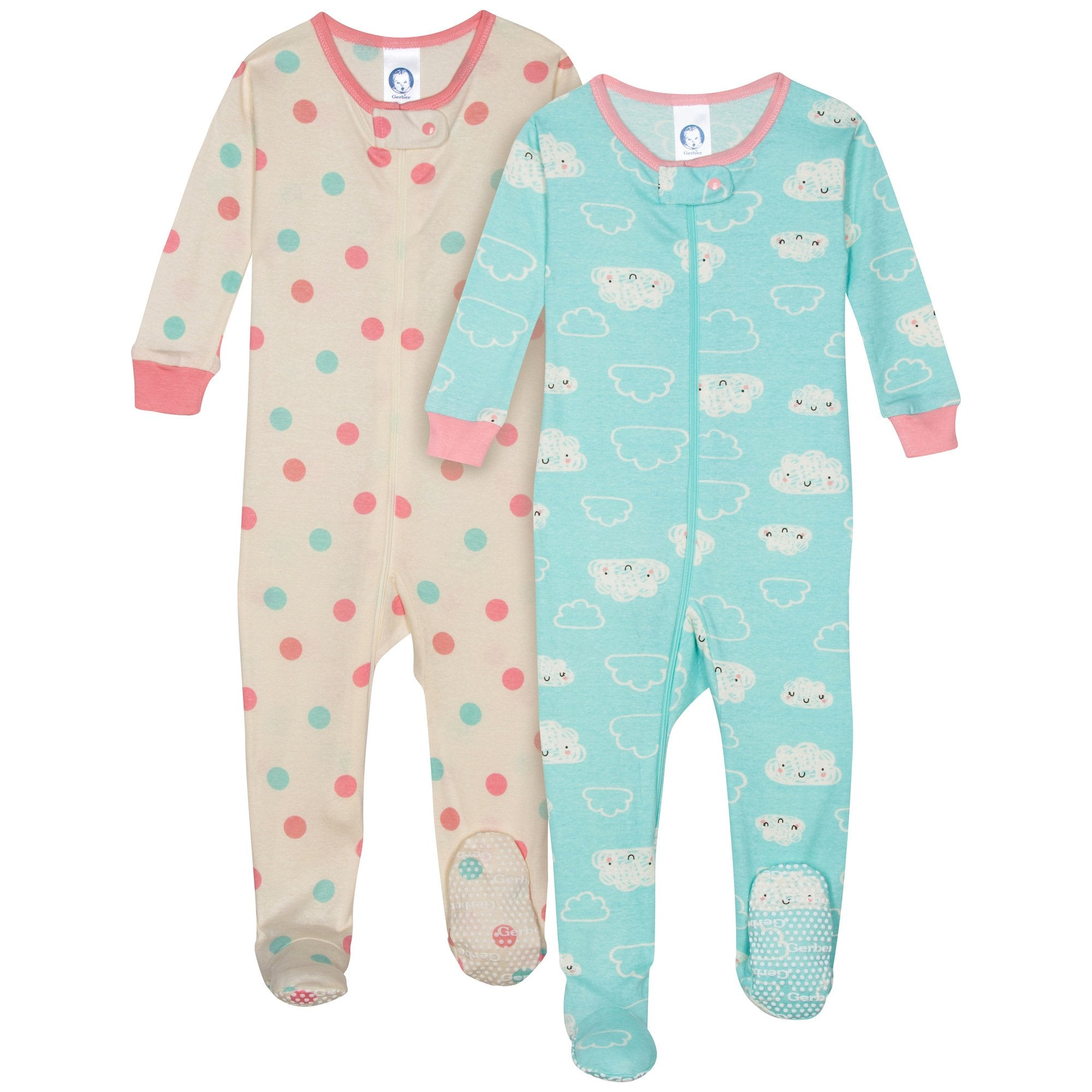2-Pack Girls Organic Footed Cloud Pajamas