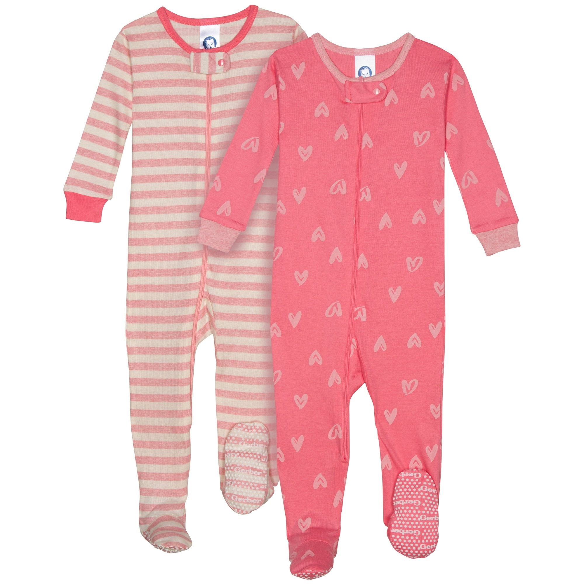 2-Pack Girls Organic Footed Heart Pajamas