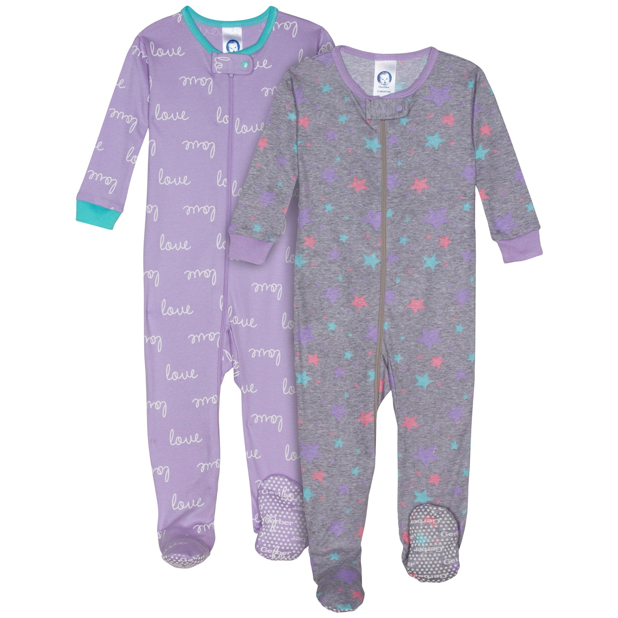 2-Pack Girls Organic Footed Star Pajamas