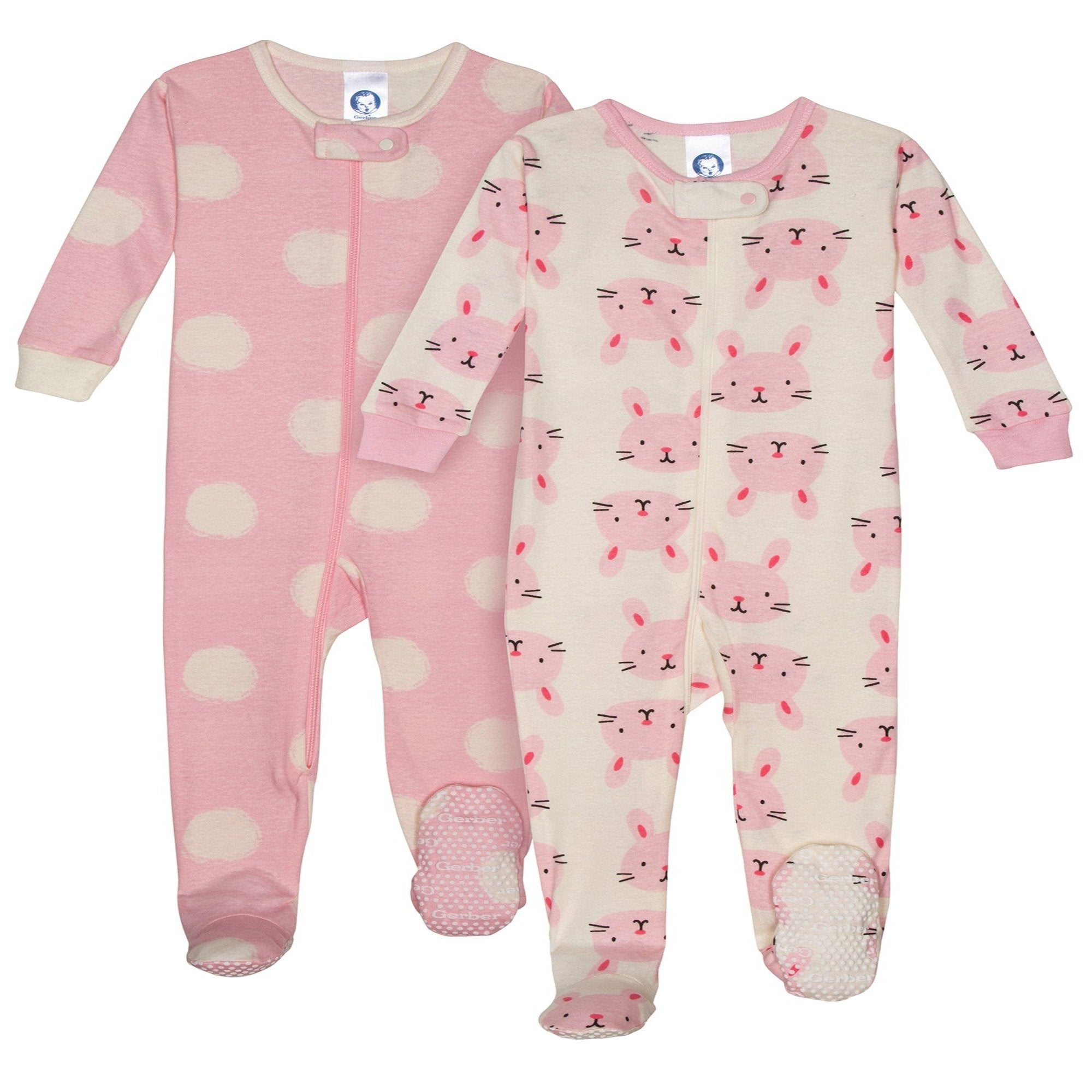 2-pack Girls Organic Footed Unionsuit - Bunny