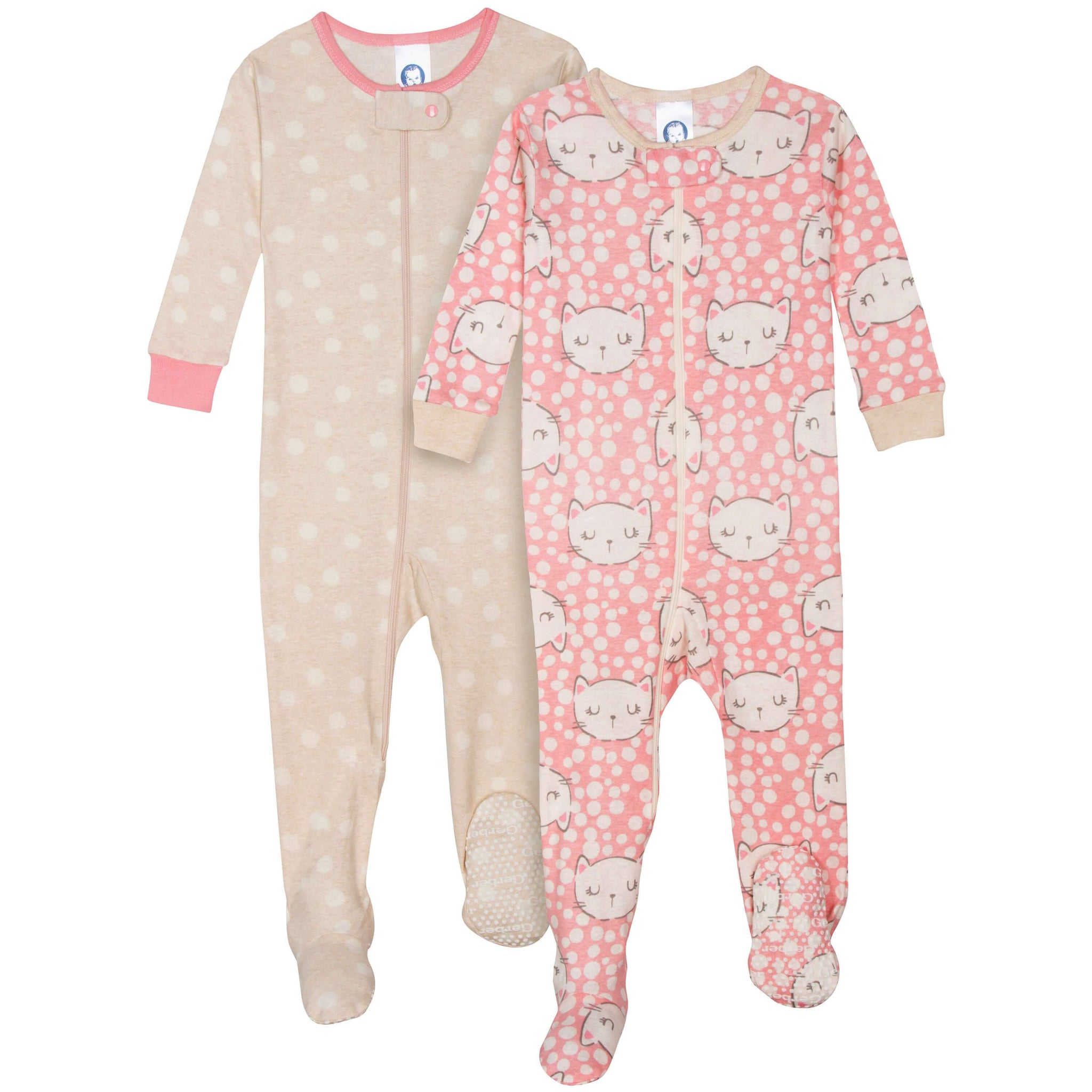 2-Pack Girls Organic Footed Cat Pajamas