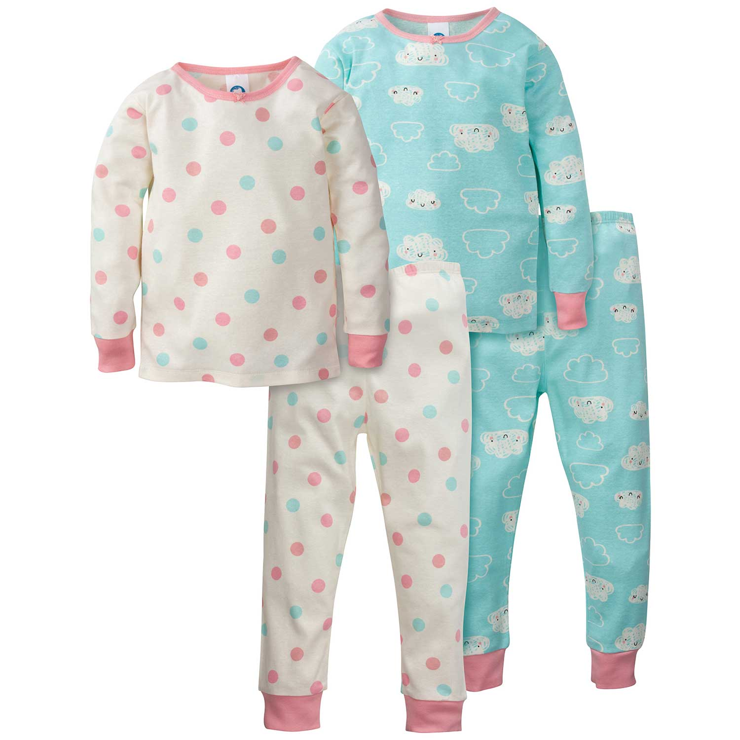 4-Piece Girls Organic Pajama Set - Clouds/Dots