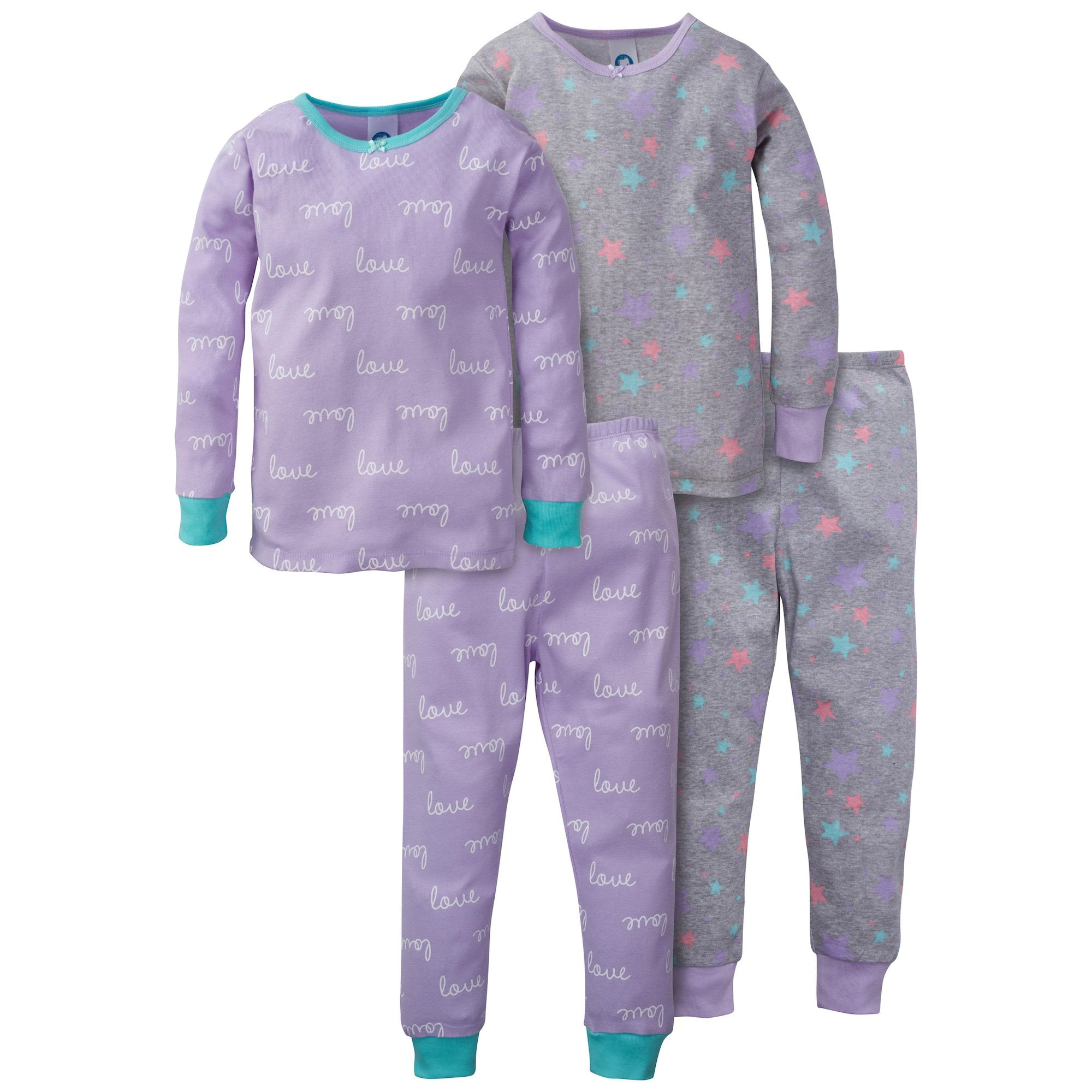 4-Piece Girls Love Organic Pajama Set