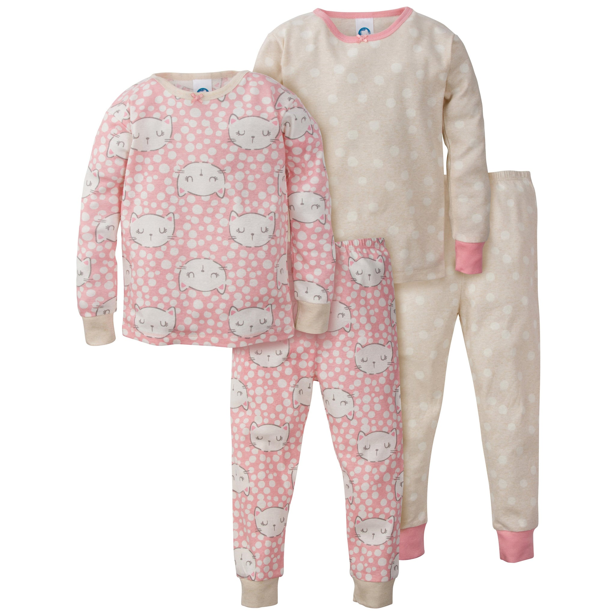 4-Piece Girls Organic Pajama Set - Kitty