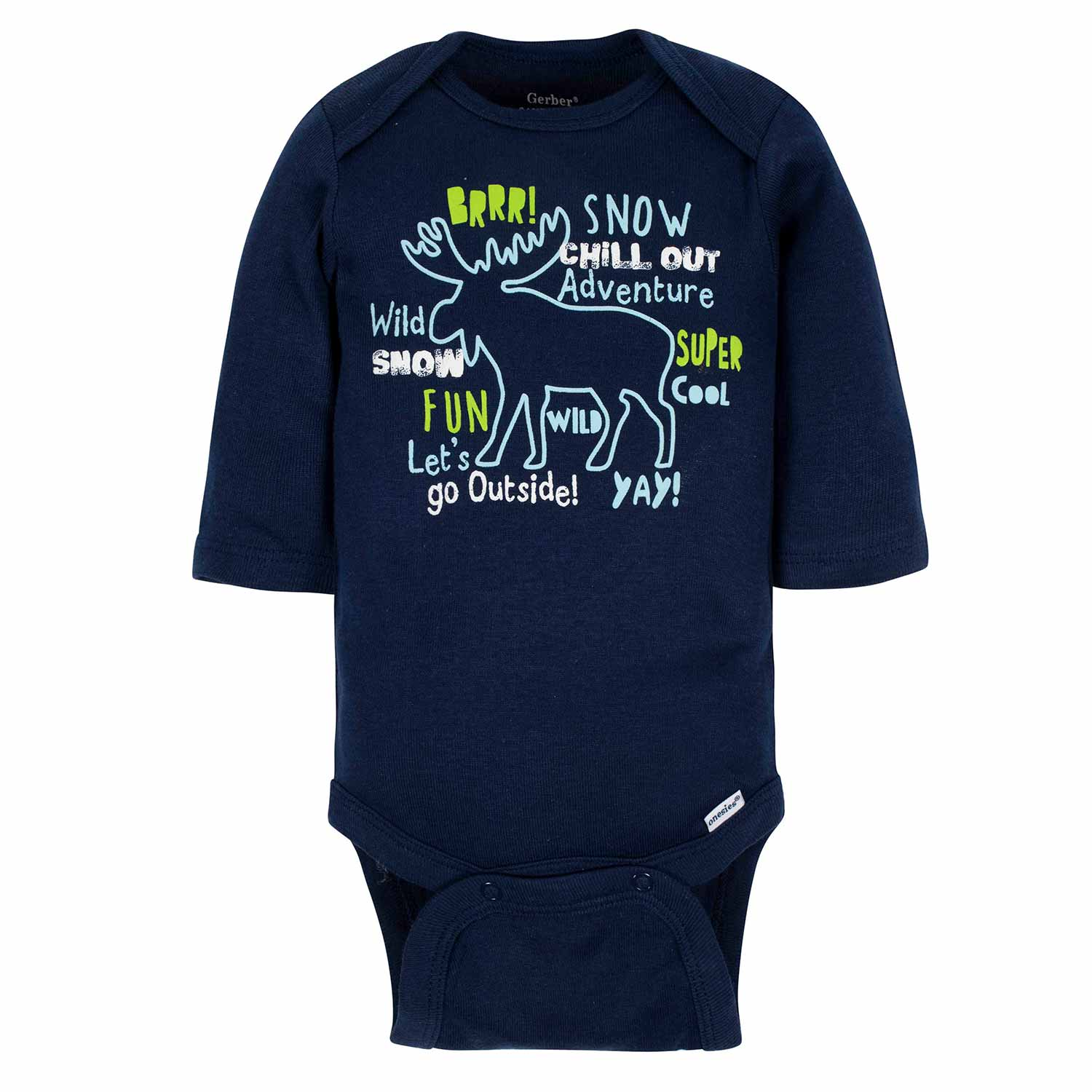 Gerber® 3-Pack Baby Boys Moose Long Sleeve Onesies® Bodysuits