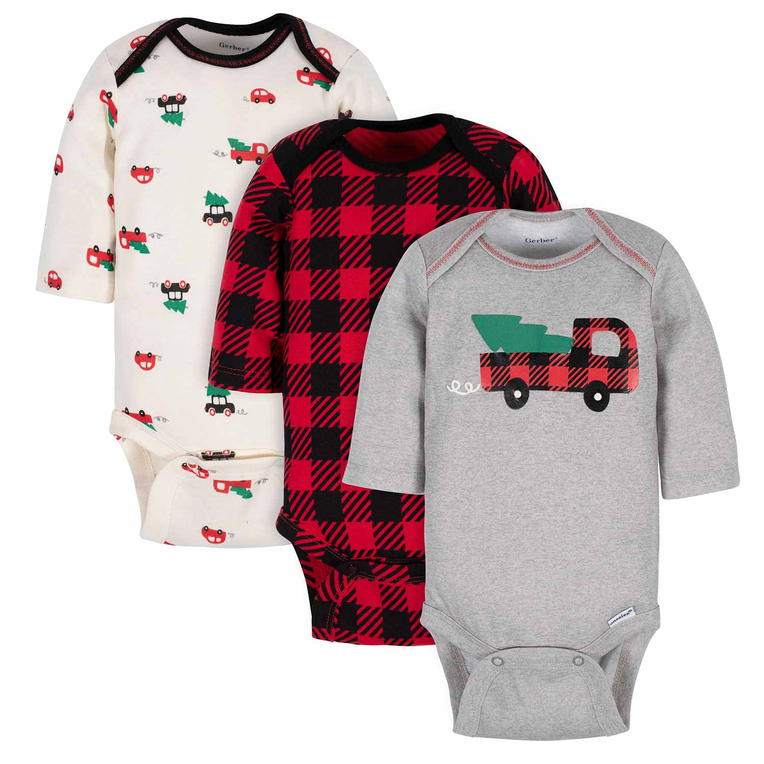 Gerber® 3-Pack Baby Boys Trees, Trucks, and Plaid Long Sleeve Onesies® Bodysuits