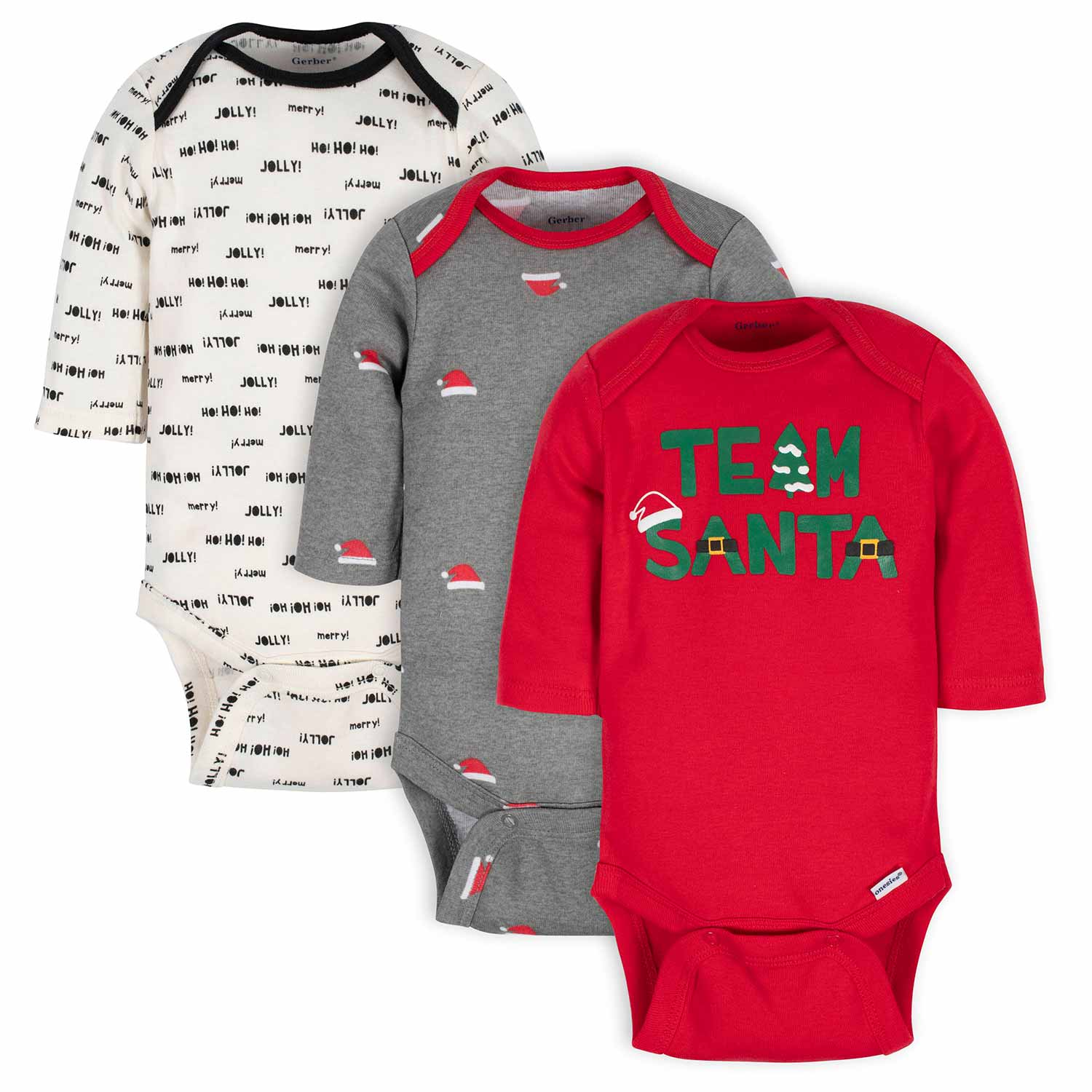 Gerber® 3-Pack Baby Team Santa Long Sleeve Onesies® Bodysuits