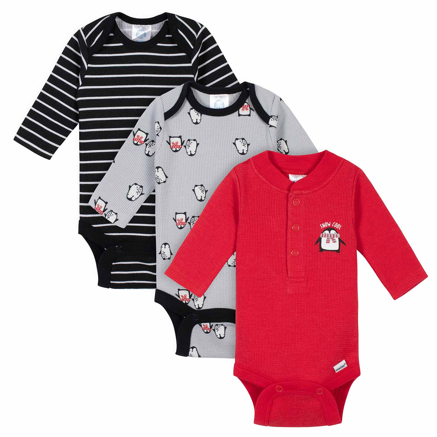 Gerber® 3-Pack Baby Boys Penguin Thermal Long Sleeve Onesies® Bodysuits
