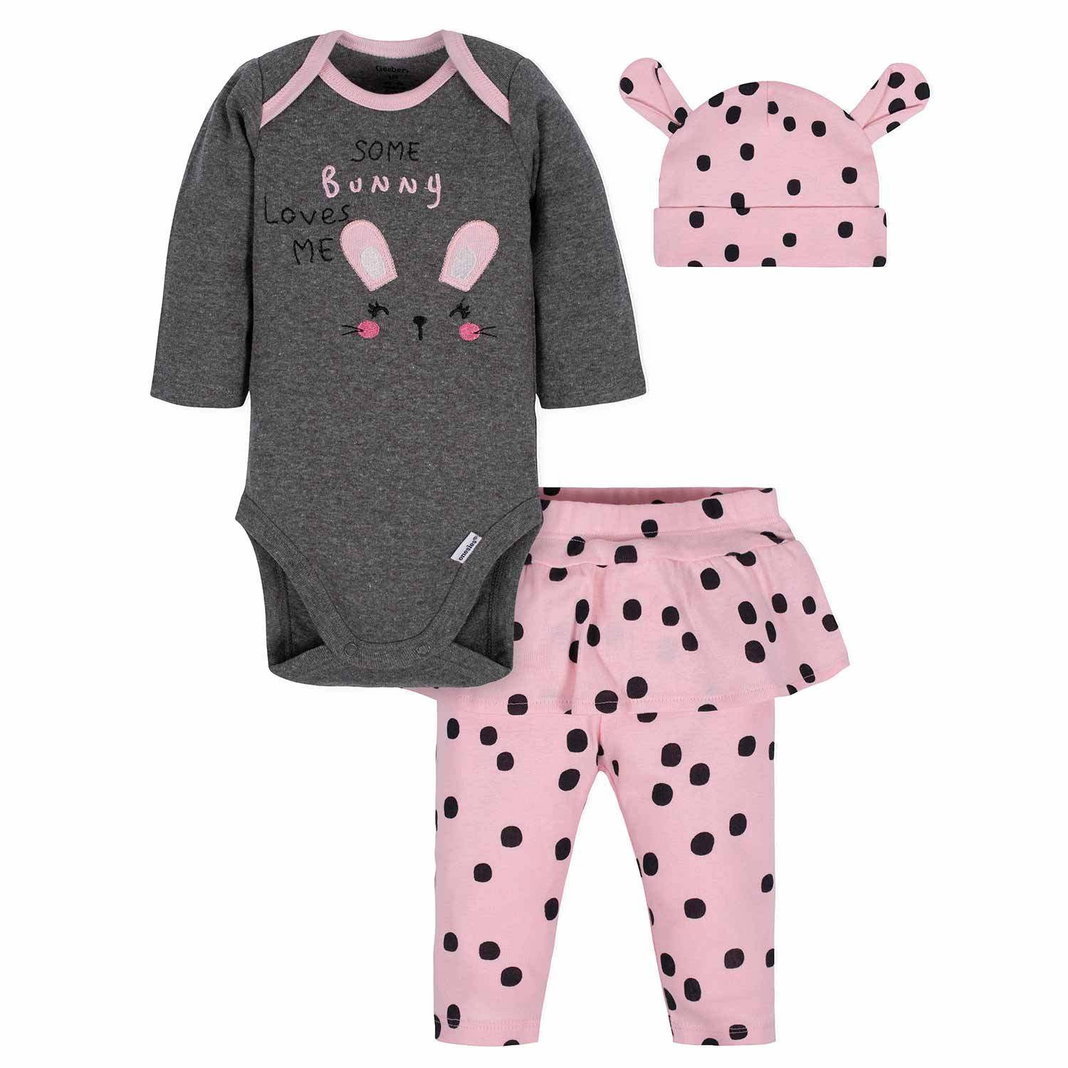 3-Piece Baby Girls Bunny Bodysuit, Pant, & Cap Set