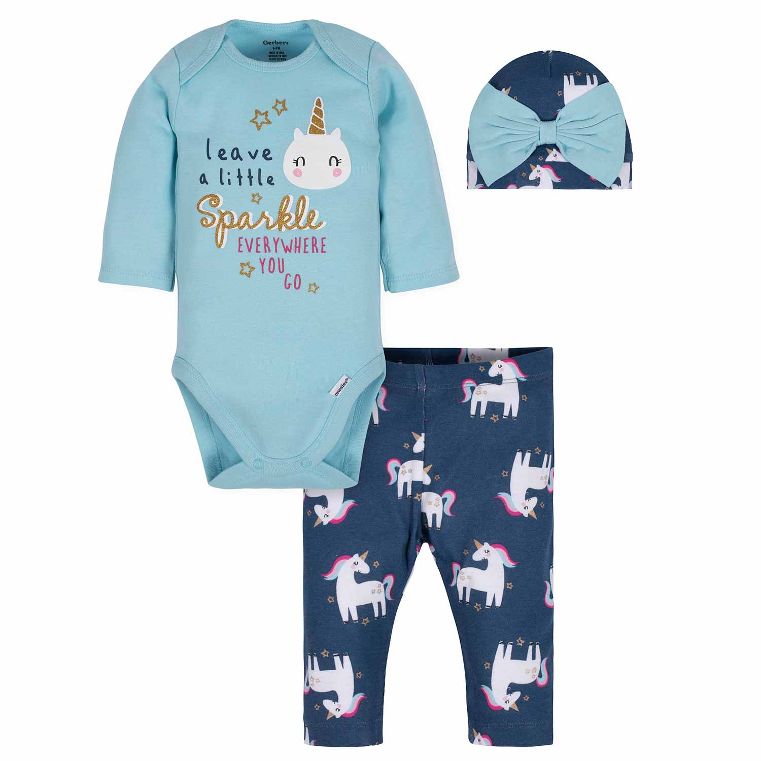 3-Piece Baby Girls Unicorn Bodysuit, Pant, & Cap Set