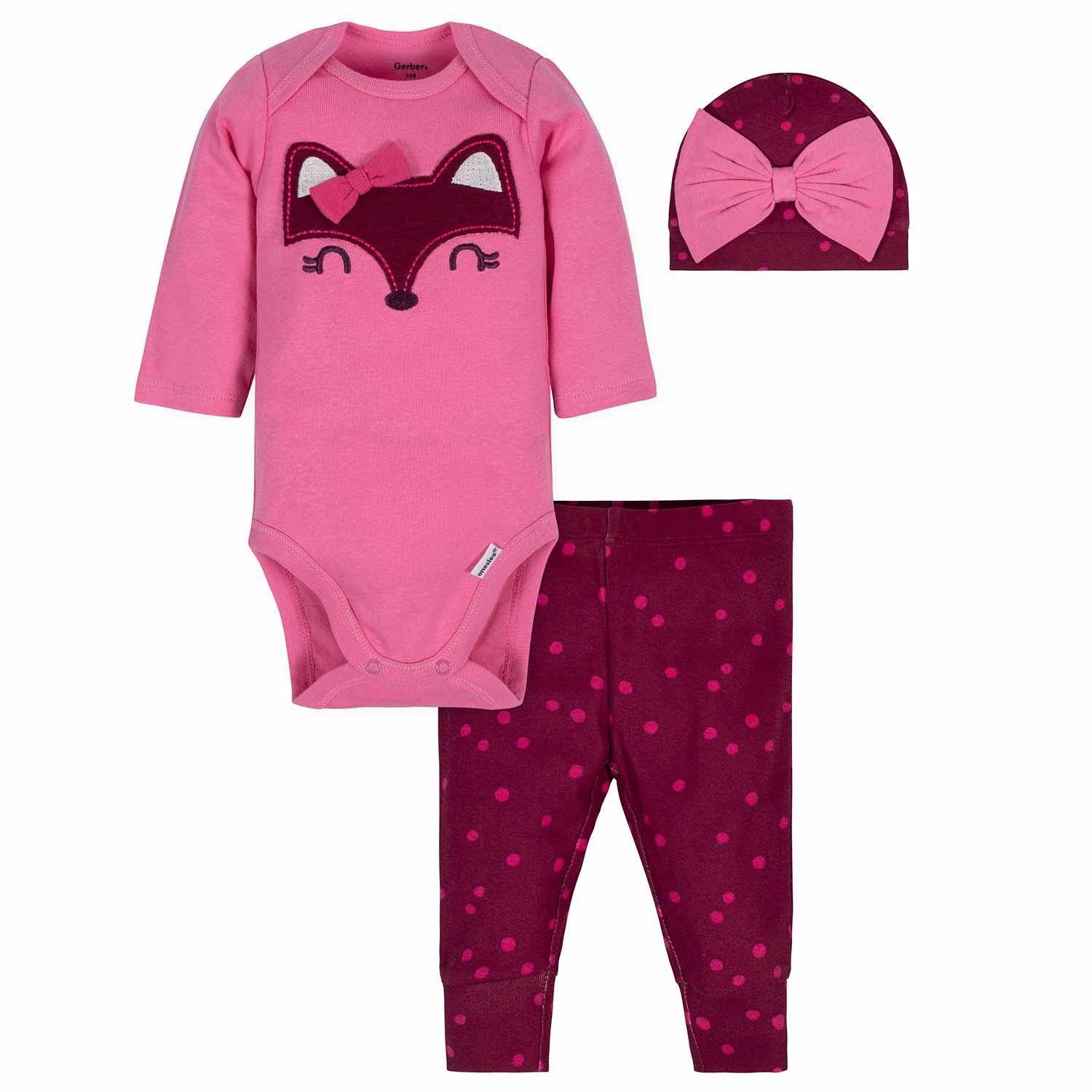 3-Piece Baby Girls Fox Bodysuit, Pant, & Cap Set