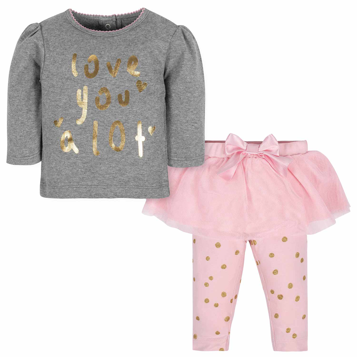 2-Piece Baby Girls Love Shirt and Tutu Legging Set