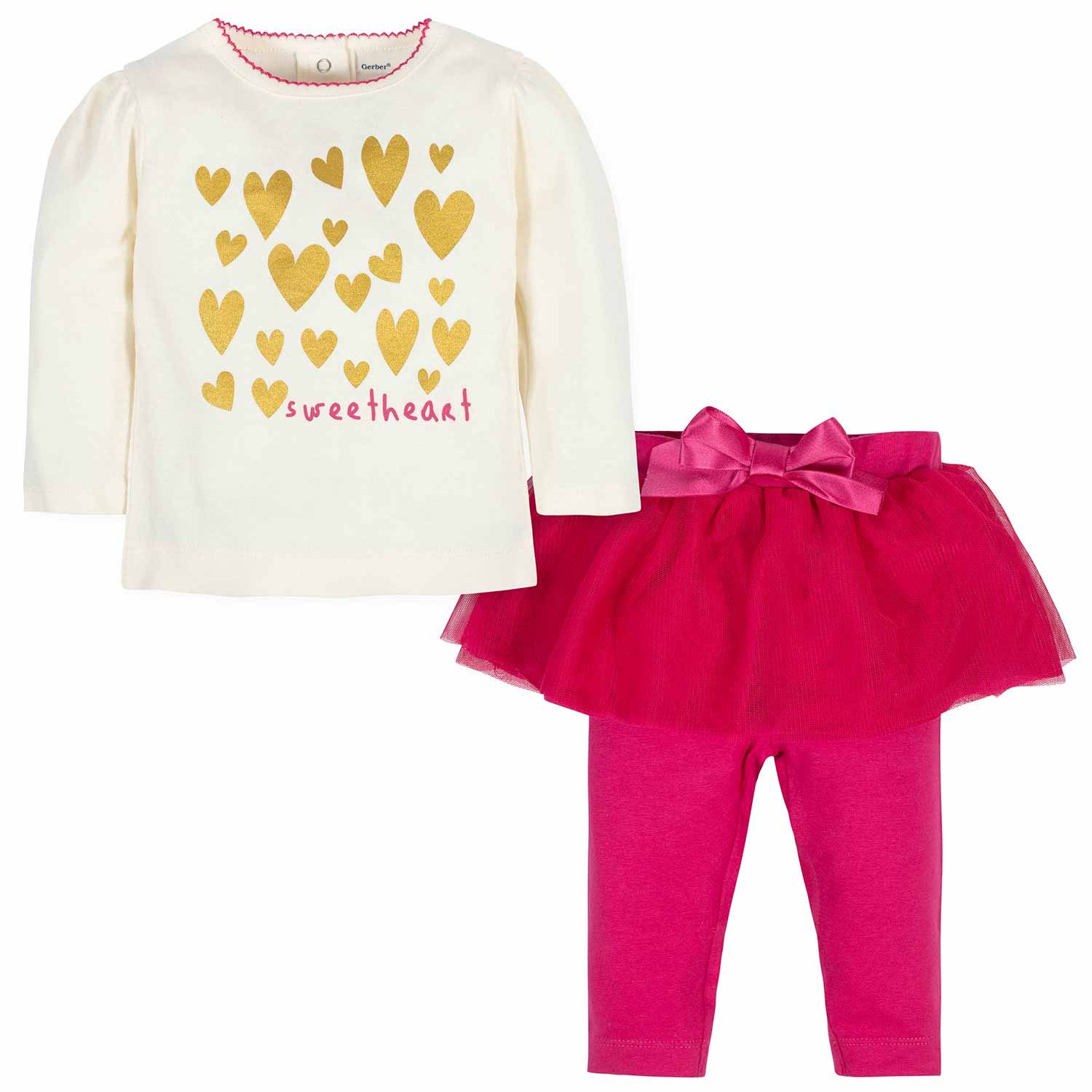 2-Piece Baby Girls Sweetheart Shirt and Tutu Legging Set