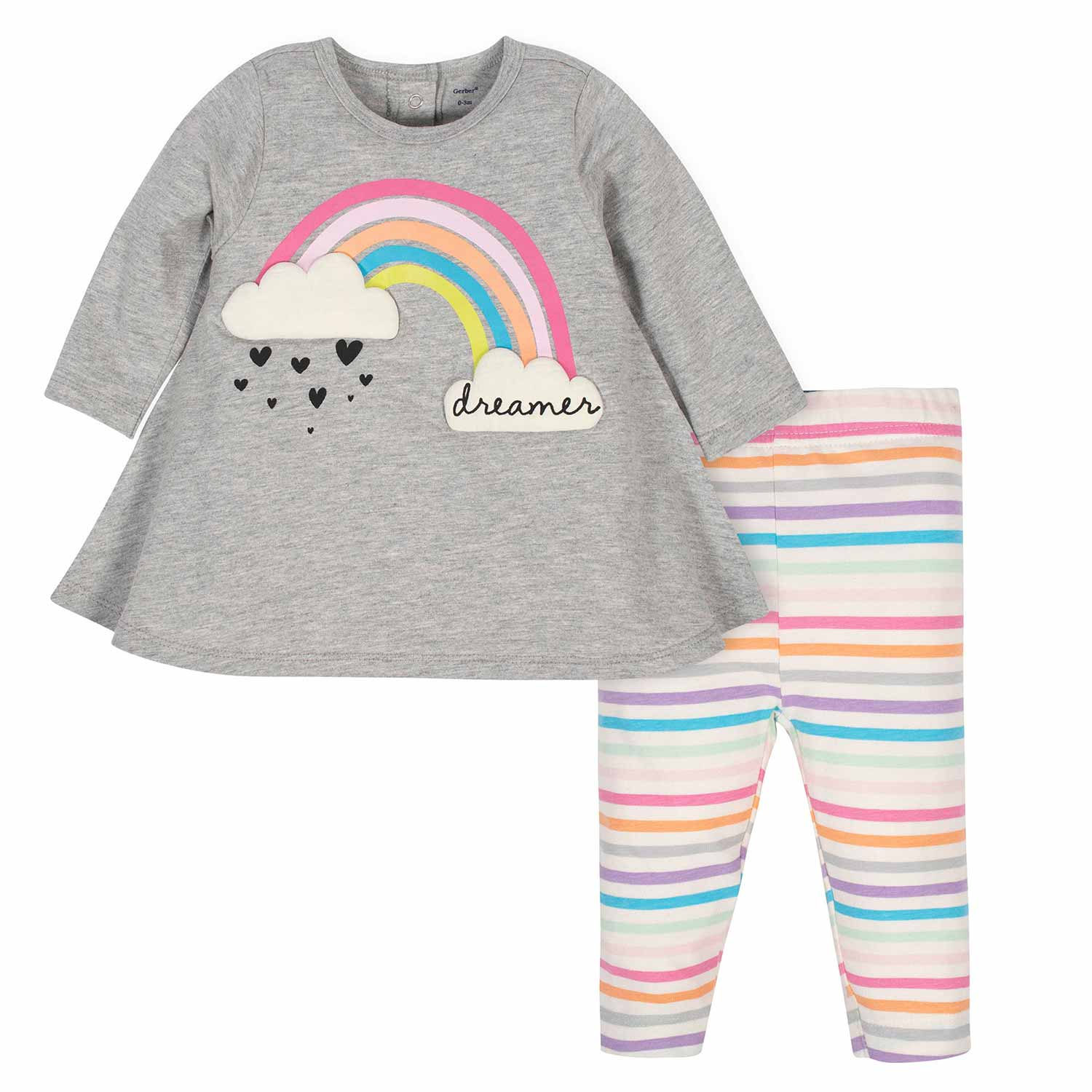 2-Piece Baby Girls Rainbow Dress and Legging Set