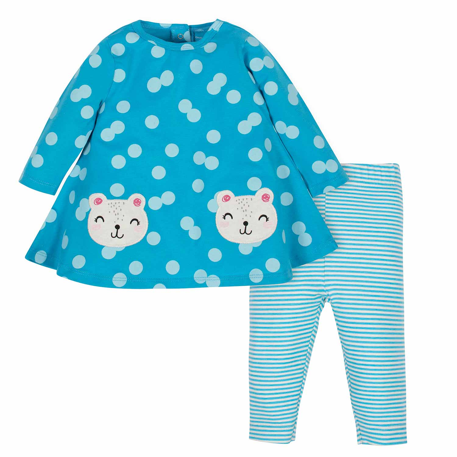 2-Piece Baby Girls Bear Dress and Legging Set