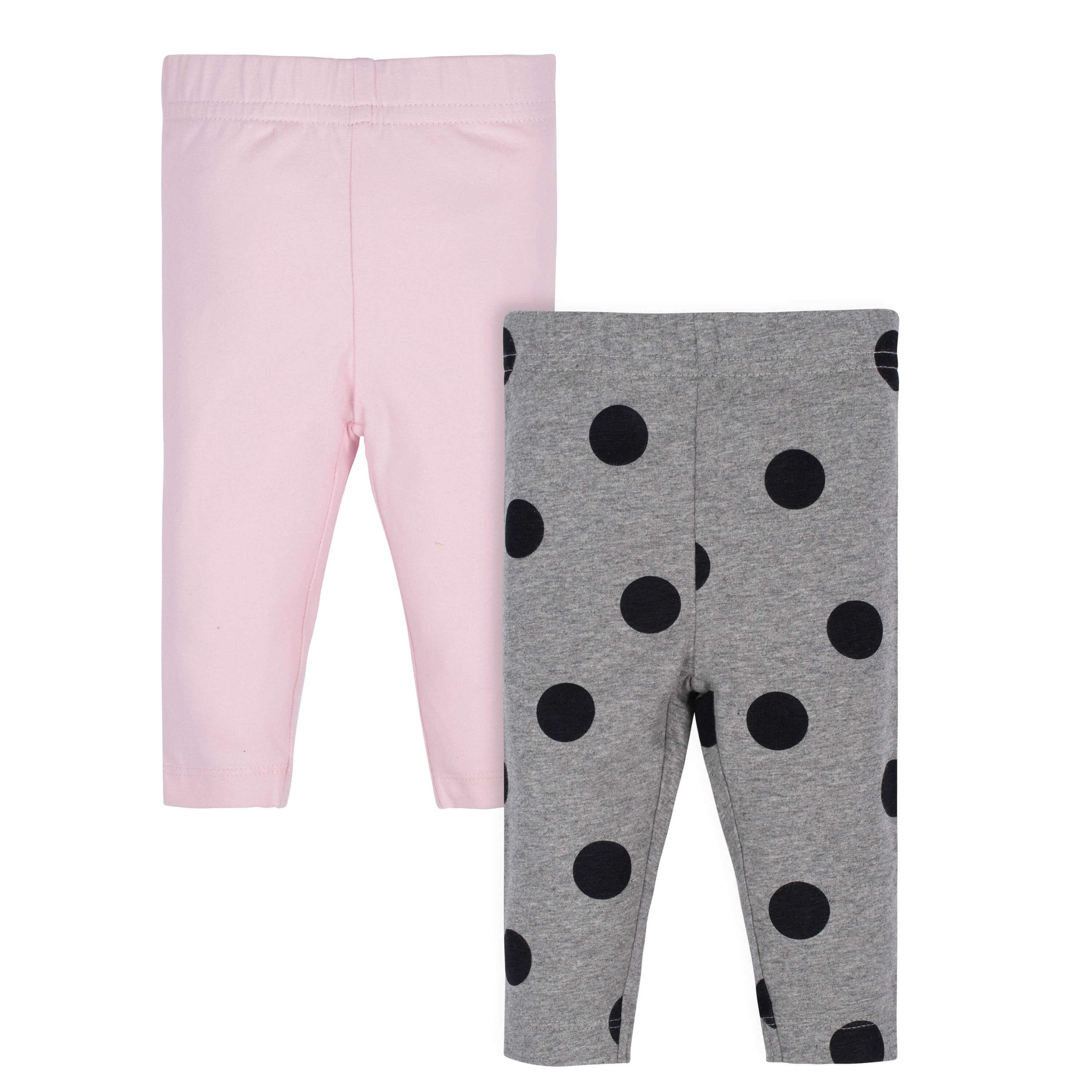 Gerber® 2-Pack Baby Girls Pink Polka Dot and Grey Leggings