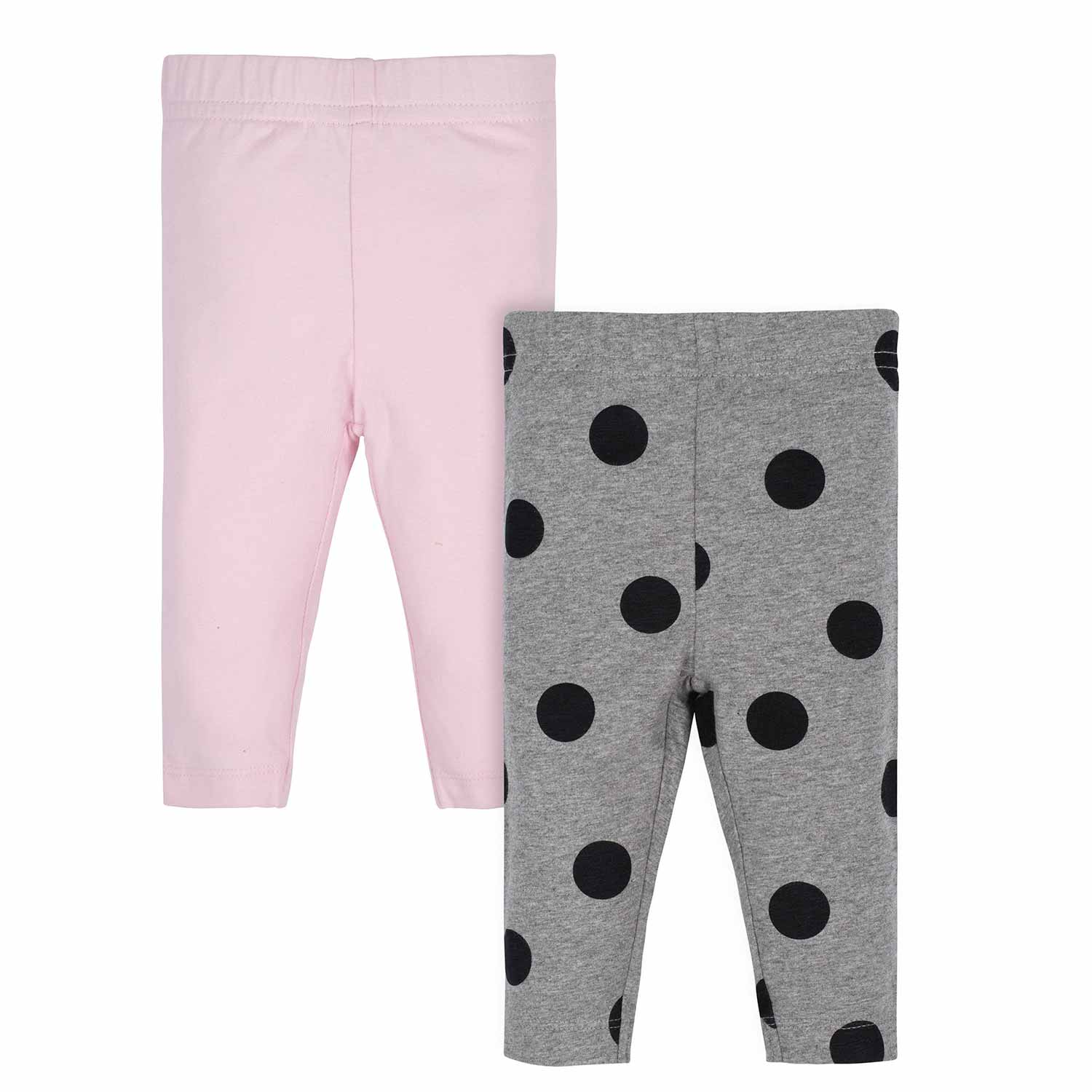 Gerber® 2-Pack Toddler Girls Pink Polka Dot and Grey Leggings