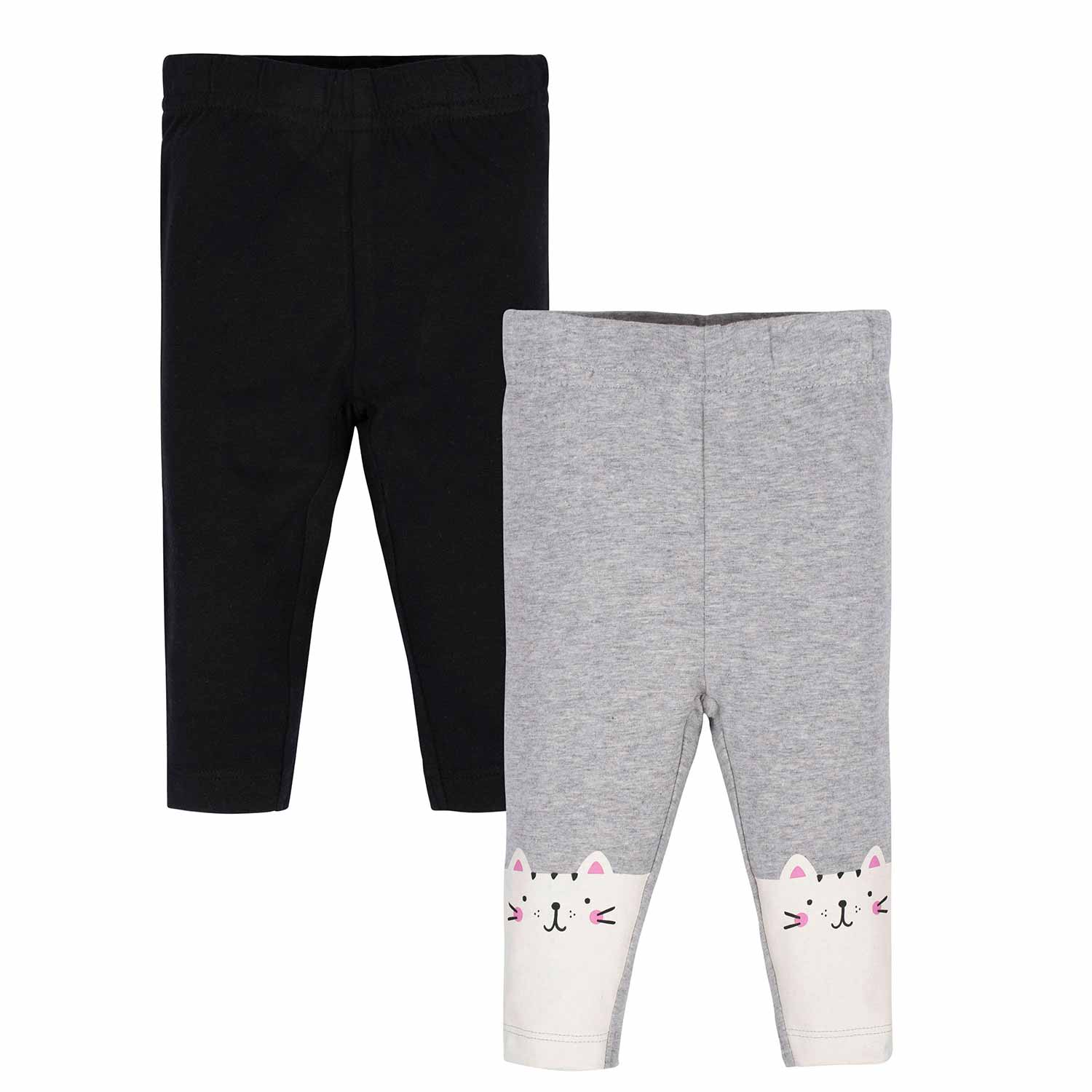 Gerber® 2-Pack Toddler Girls Black and Happy Cat Leggings