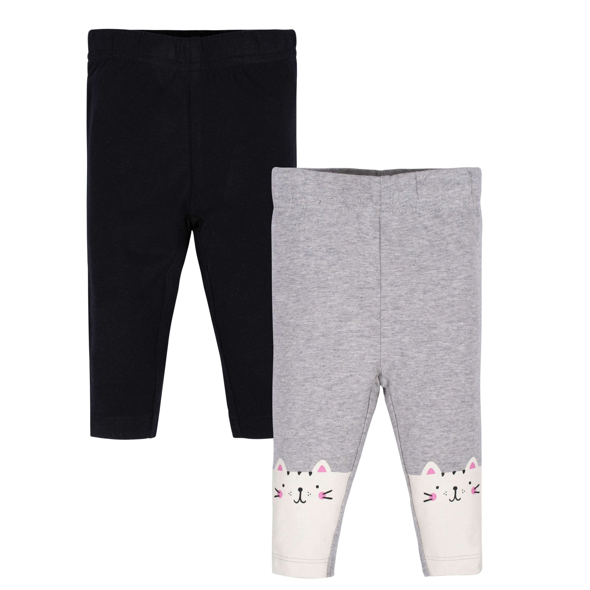 2-Pack Baby Girls Black and Happy Cat Leggings