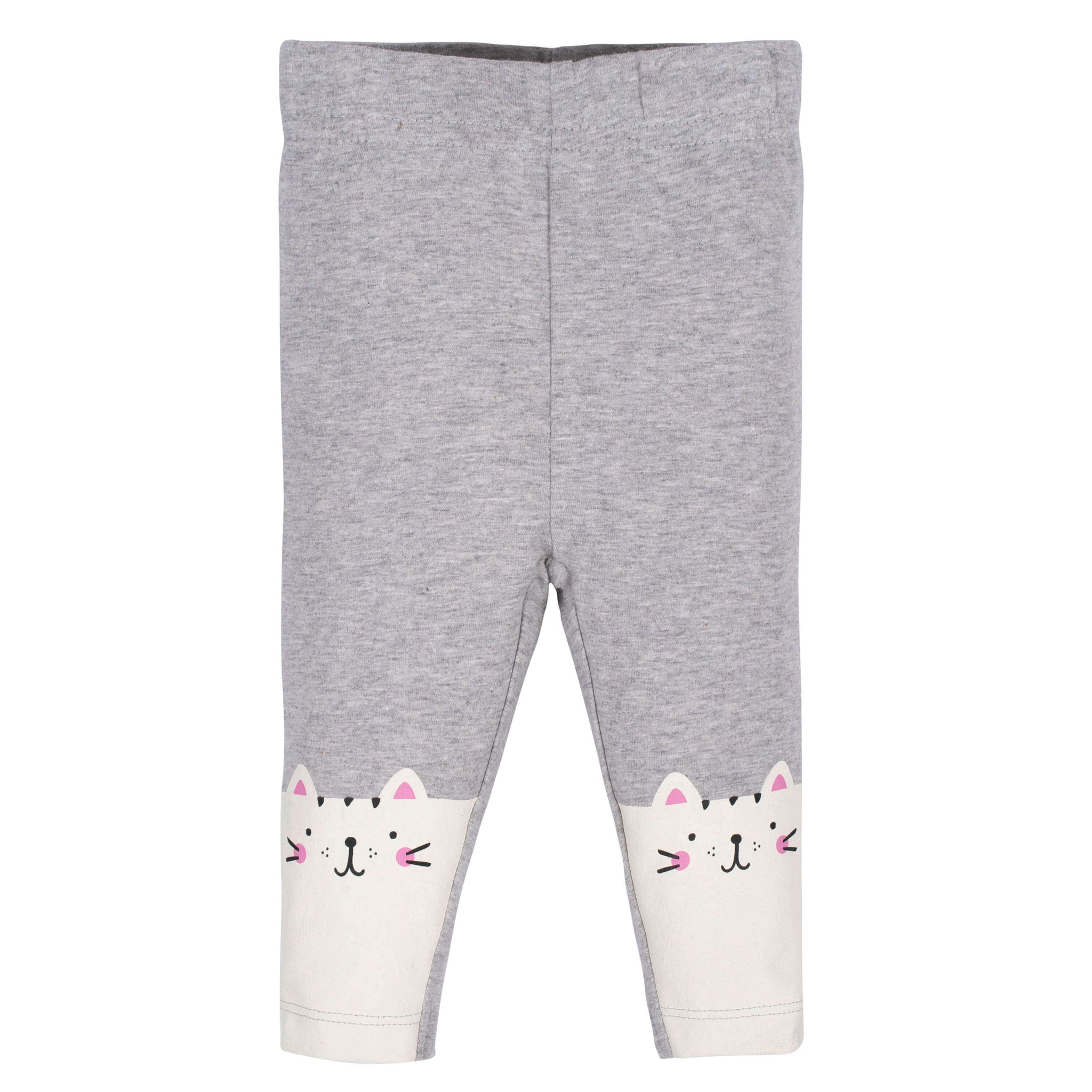 Gerber® 2-Pack Baby Girls Black and Happy Cat Leggings