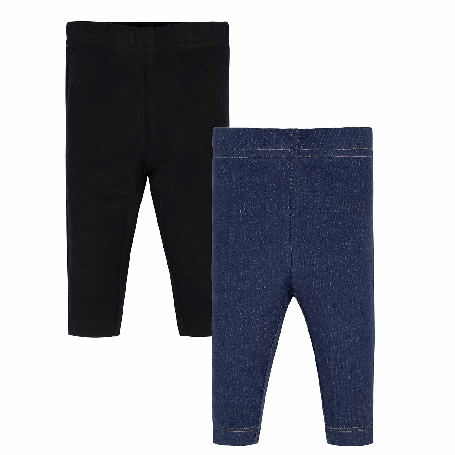 Gerber® 2-Pack Toddler Girls Black and Blue Leggings