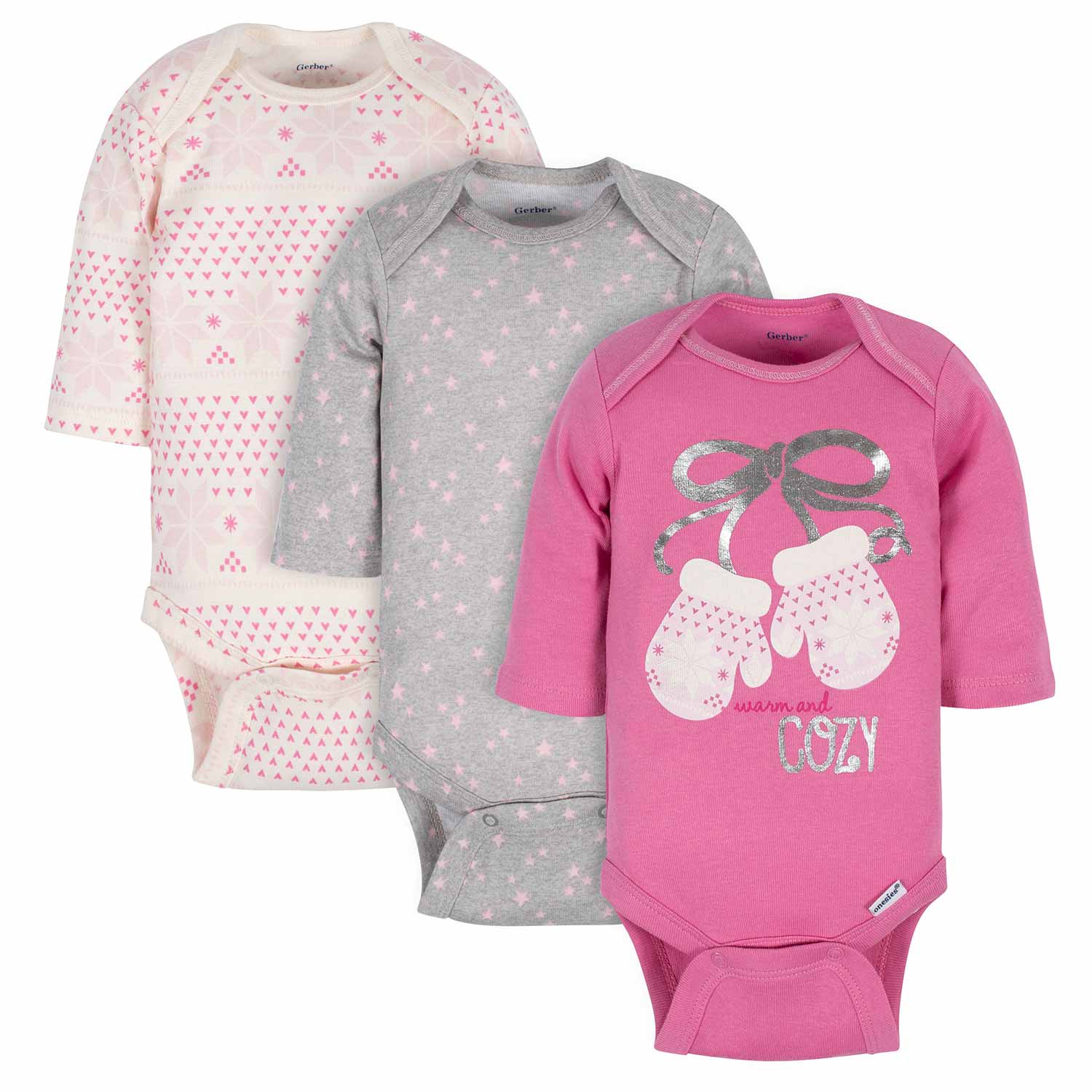 Gerber® 3-Pack Baby Girls Cozy Winter Long Sleeve Onesies® Bodysuits
