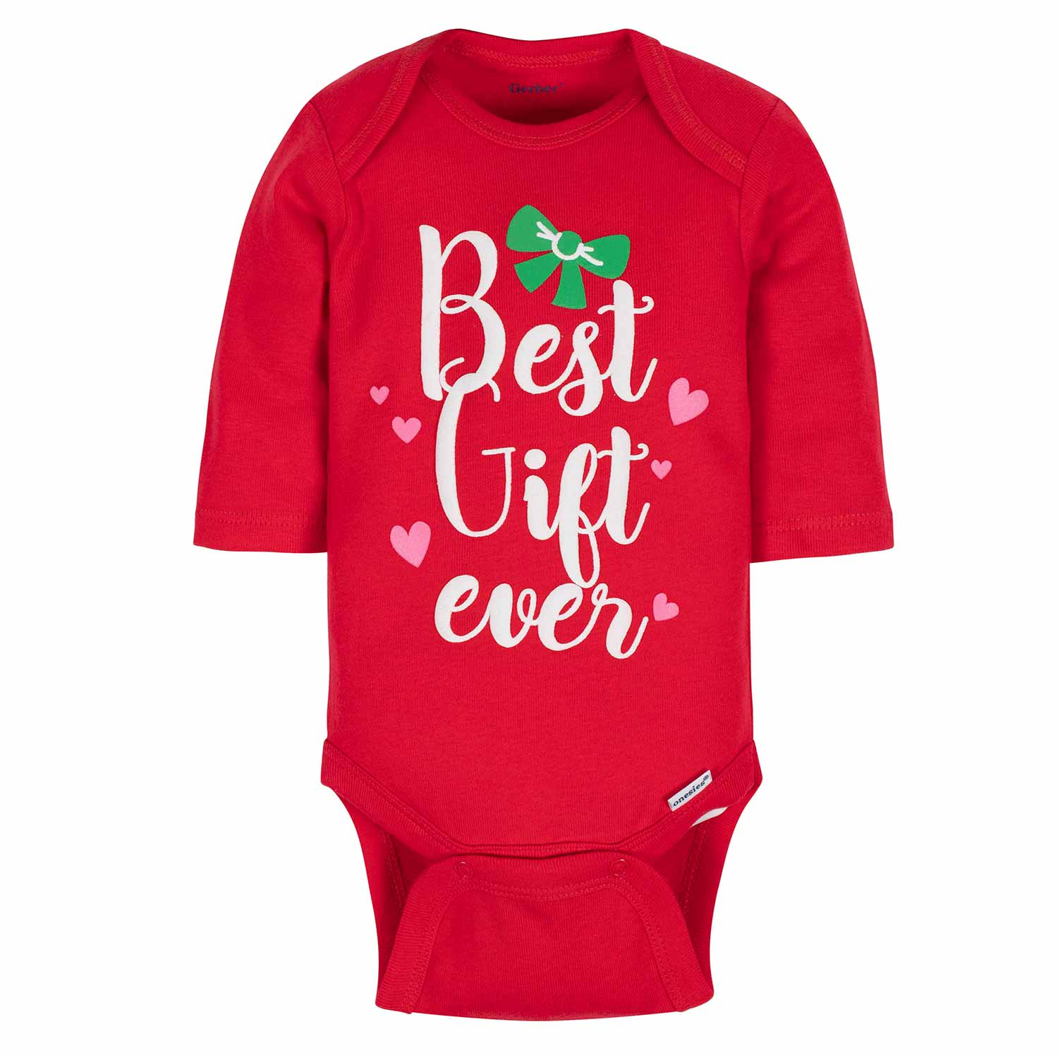 Gerber® 3-Pack Baby Girls Holiday Gift Long Sleeve Onesies® Bodysuits-Gerber Childrenswear