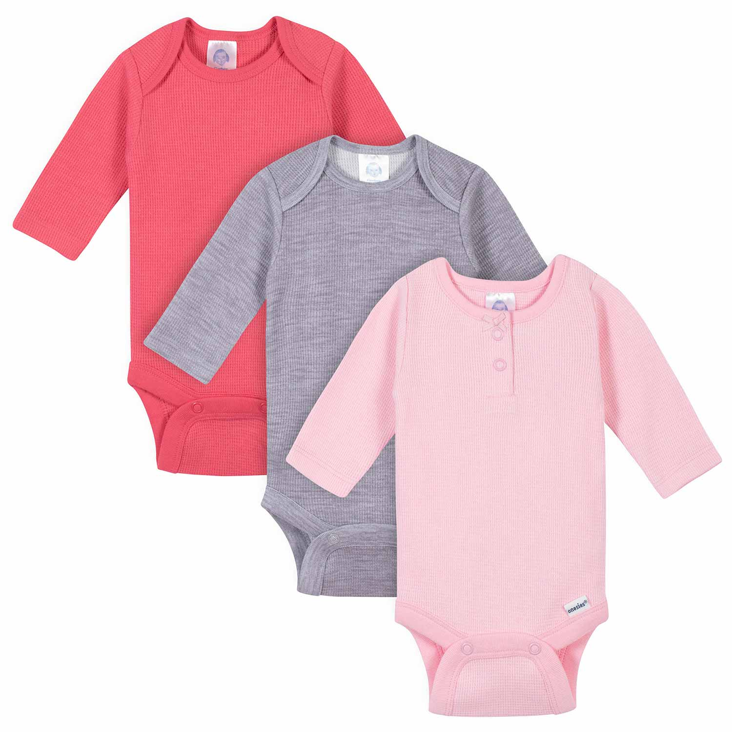 Gerber® 3-Pack Baby Girls Solid Thermal Long Sleeve Onesies® Bodysuits-Gerber Childrenswear