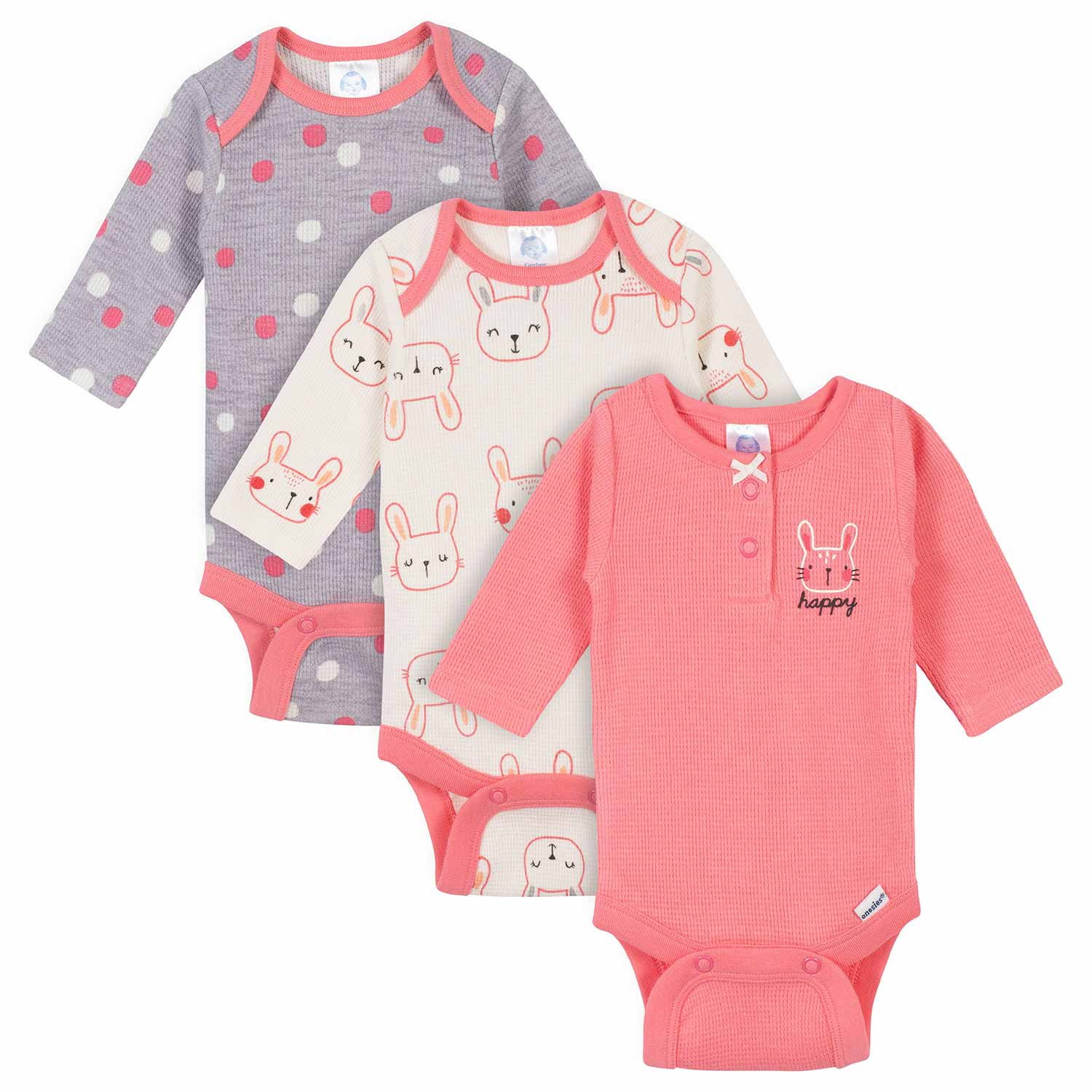 Gerber® 3-Pack Baby Girls Bunny Thermal Long Sleeve Onesies® Bodysuits