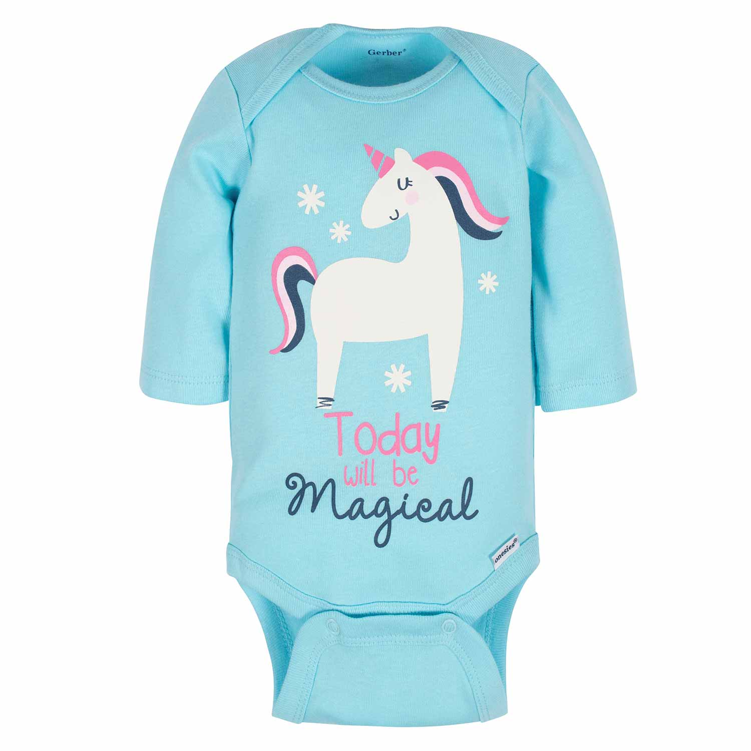 Gerber® 3-Pack Baby Girls Unicorn Long Sleeve Onesies® Bodysuits