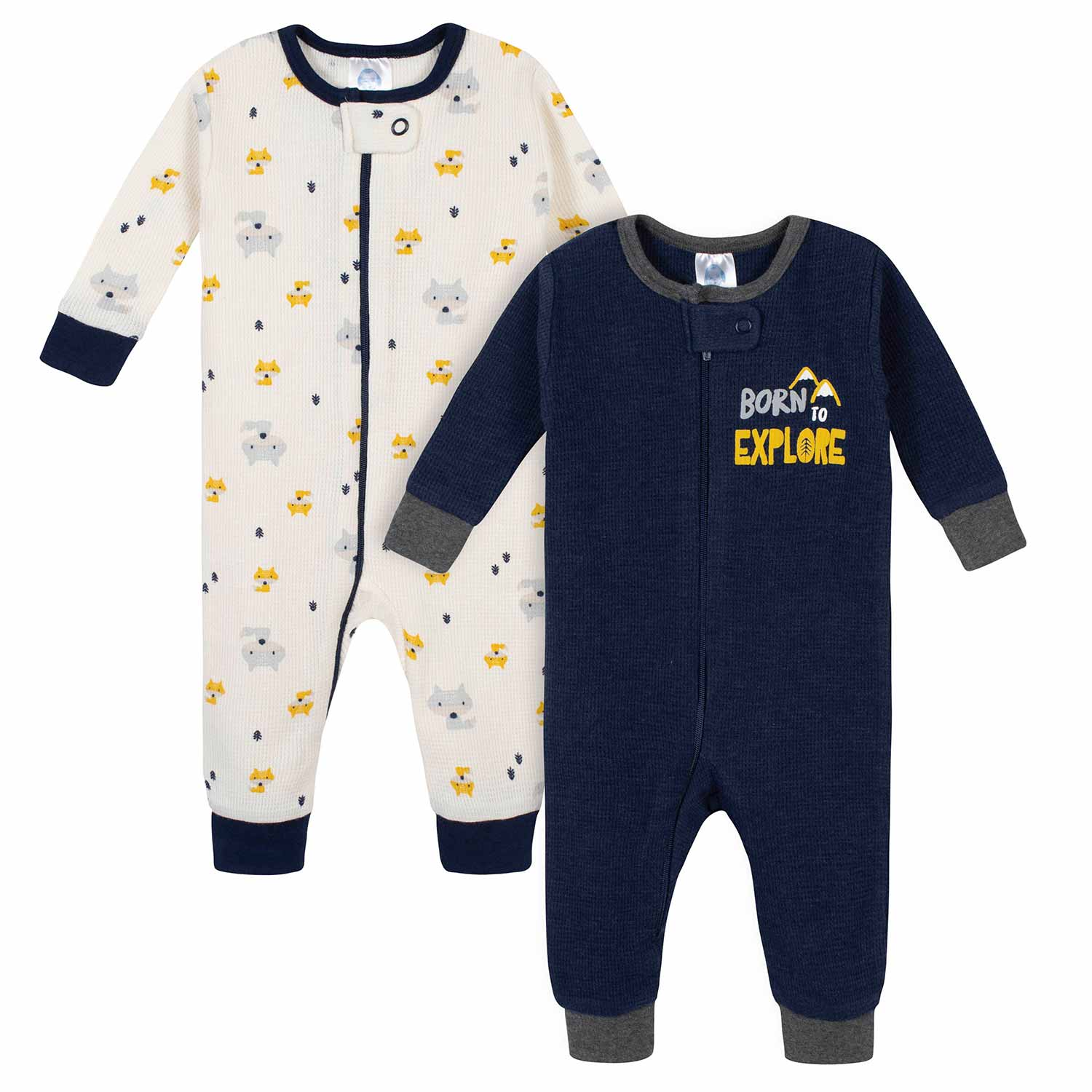 2-Pack Baby Boys Fox Thermal Footless Unionsuits