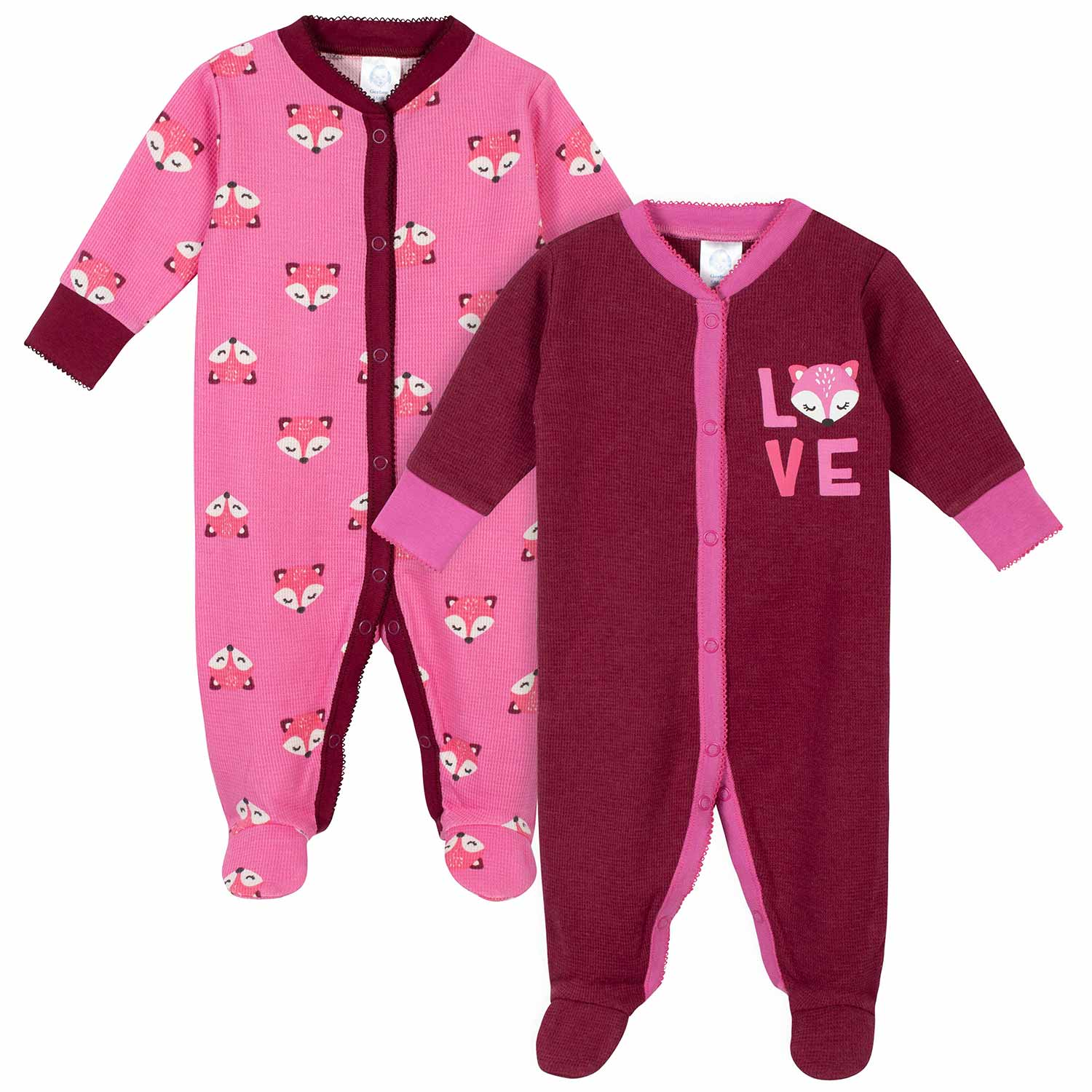 Gerber® 2-Pack Baby Girls Fox Thermal Sleep N' Plays