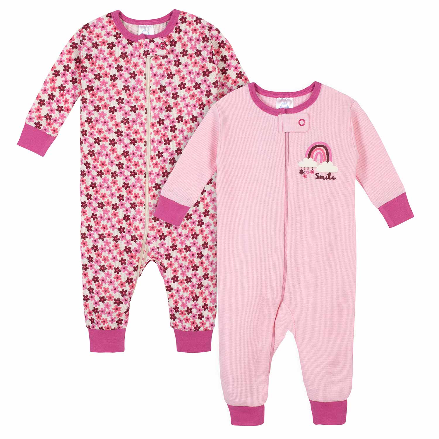 Gerber® 2-Pack Baby Girls Floral Thermal Footless Unionsuits-Gerber Childrenswear