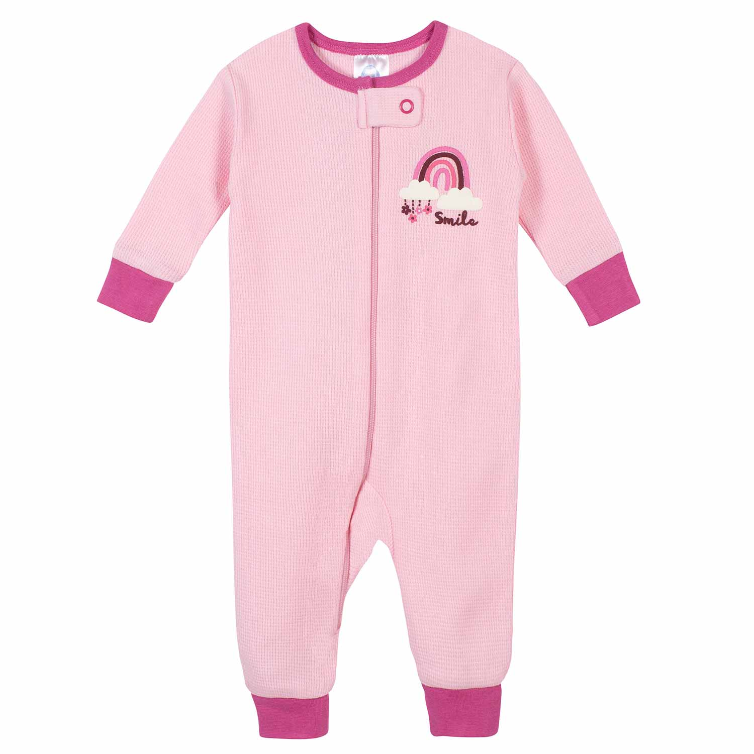 2-Pack Baby Girls Floral Thermal Footless Unionsuits