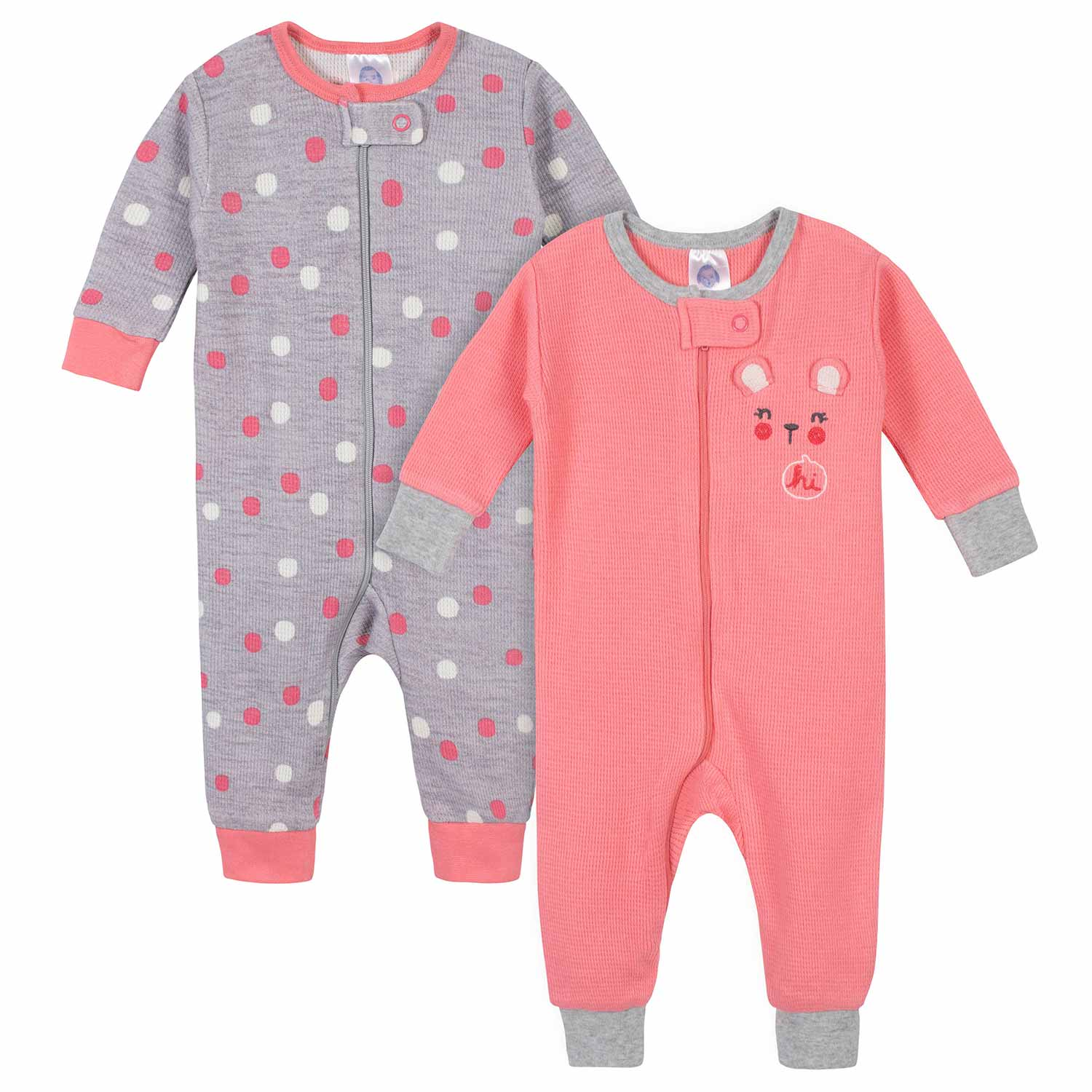 2-Pack Baby Girls Bear Thermal Footless Unionsuits