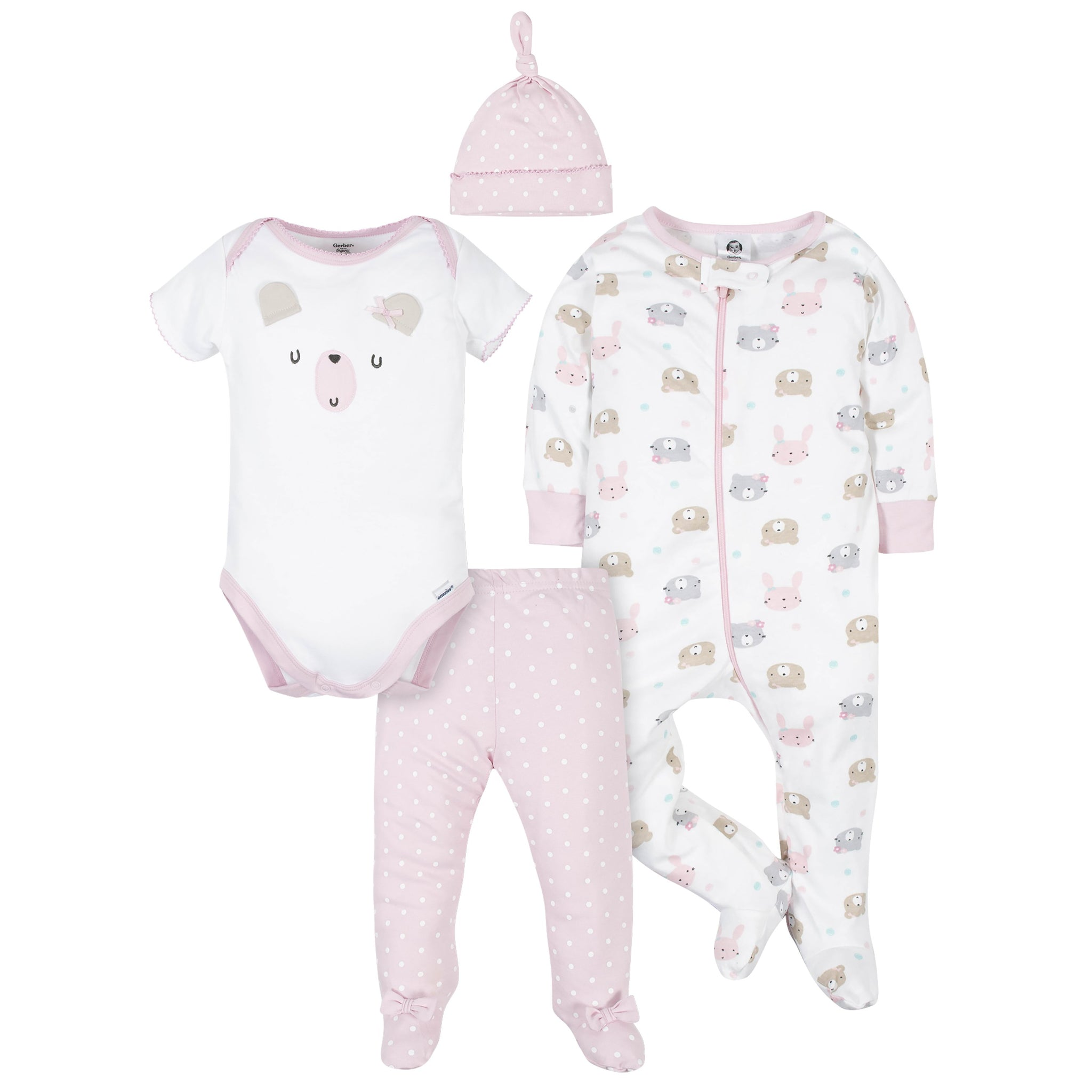 Gerber® Organic 4-Piece Baby Girls Bear Bundled Gift Set