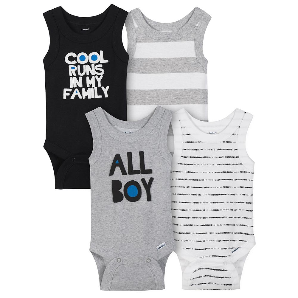 532c4acb5 4-Pack Boys Cool Runs In My Family Sleeveless Onesies® Bodysuits