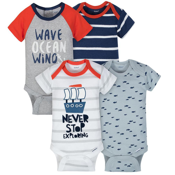 c902eb591 4-Pack Boys Sailing Short Sleeve Onesies® Bodysuits – Gerber Childrenswear