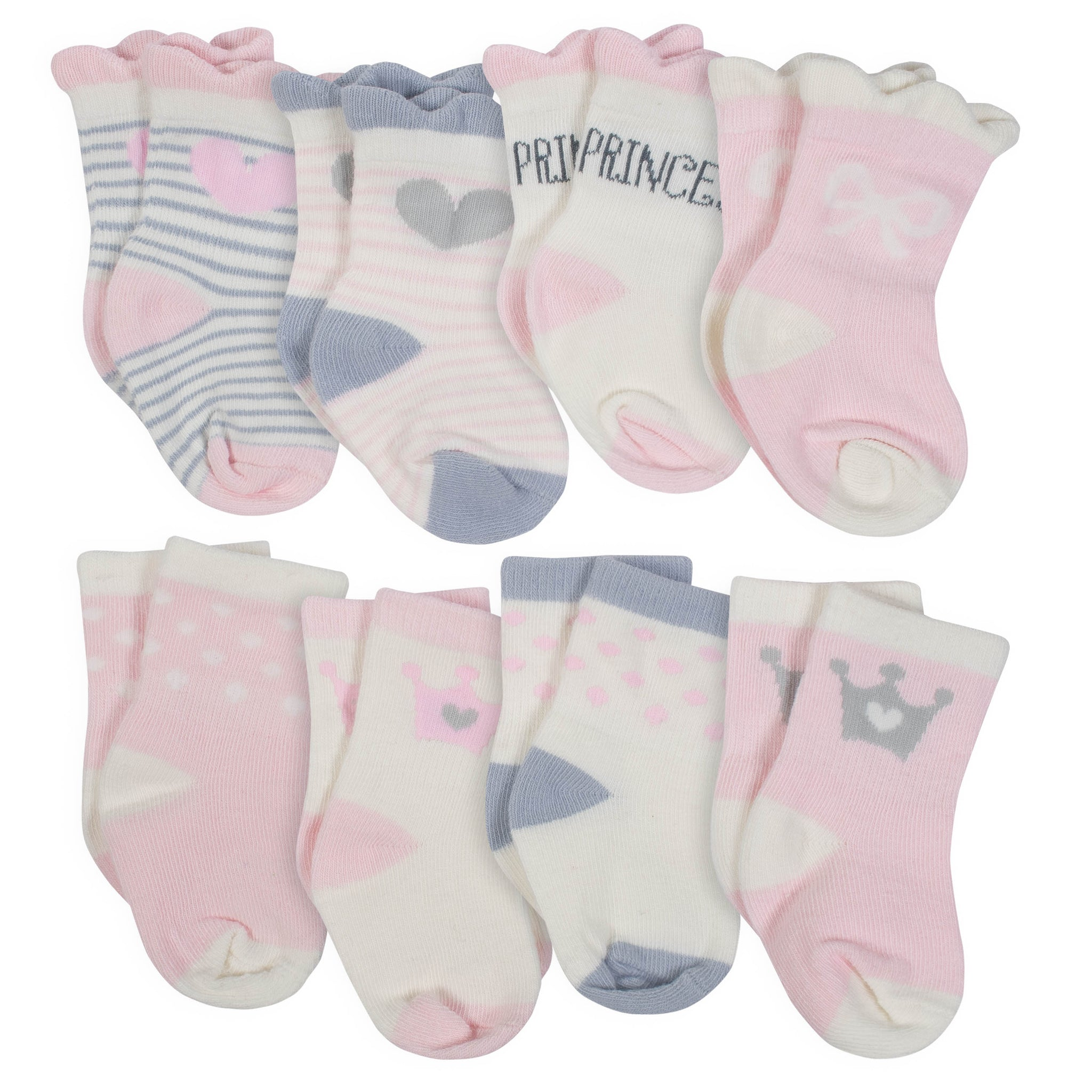 8-Pair Girls Princess Wiggle Proof Socks