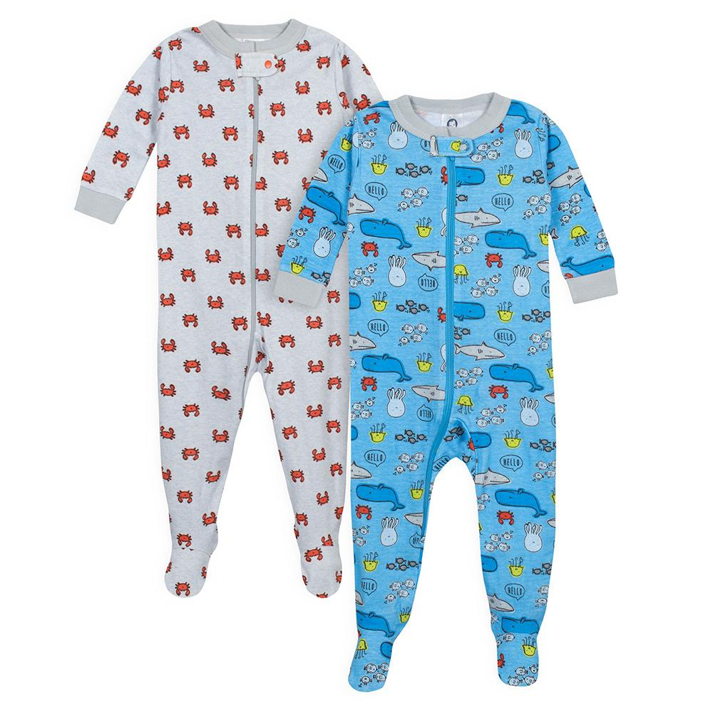 2 Pack Baby Boys Under The Sea Snug Fit Footed Pajamas