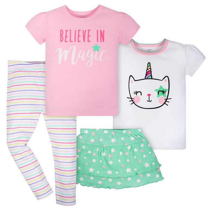 ec13268139738 4-Piece Toddler Girls Pop Star Shirts, Pant and Skort Set – Gerber ...