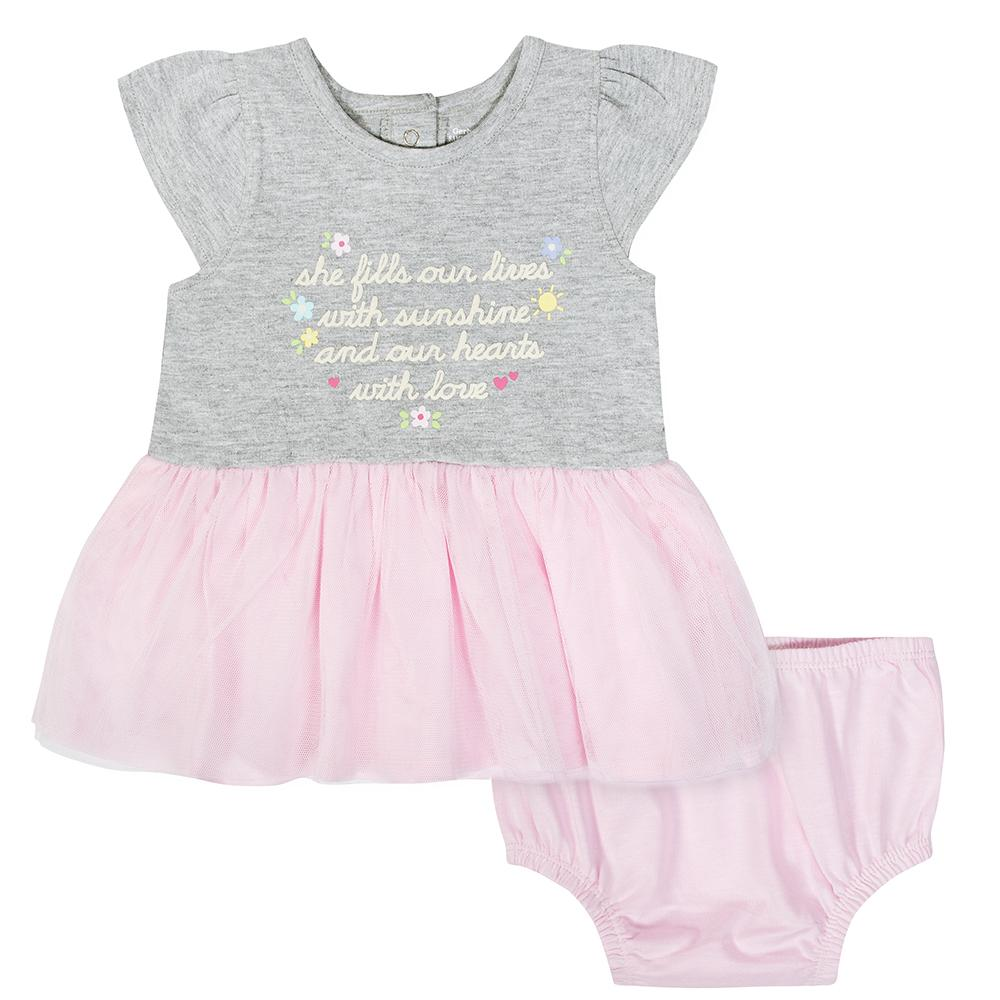 2-Piece Girls Flowers Dress & Diaper Cover Set