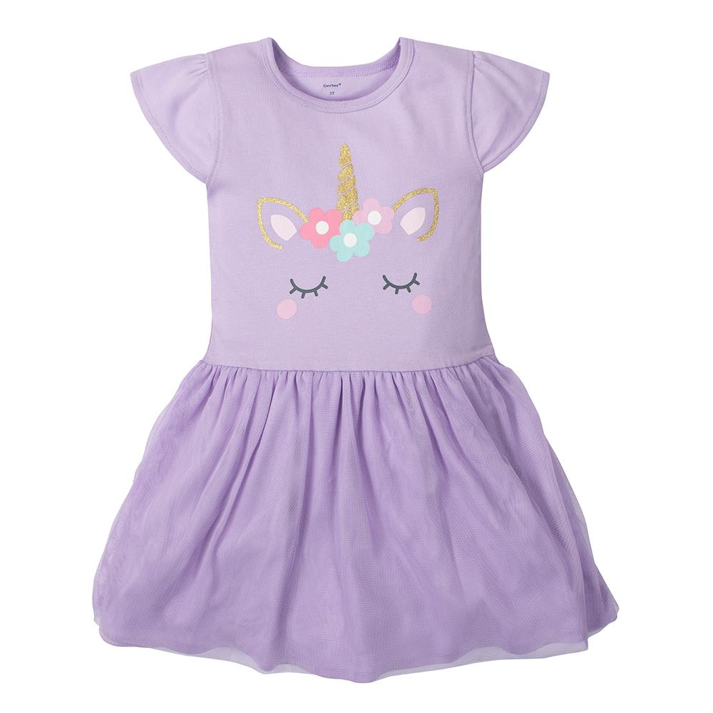 1-Piece Girls Unicorn Dress with Tulle Skirt