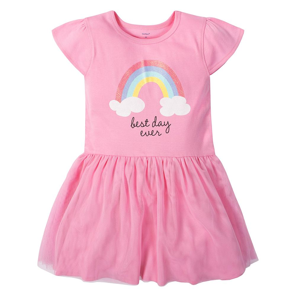 1-Piece Girls Rainbow Dress with Tulle Skirt